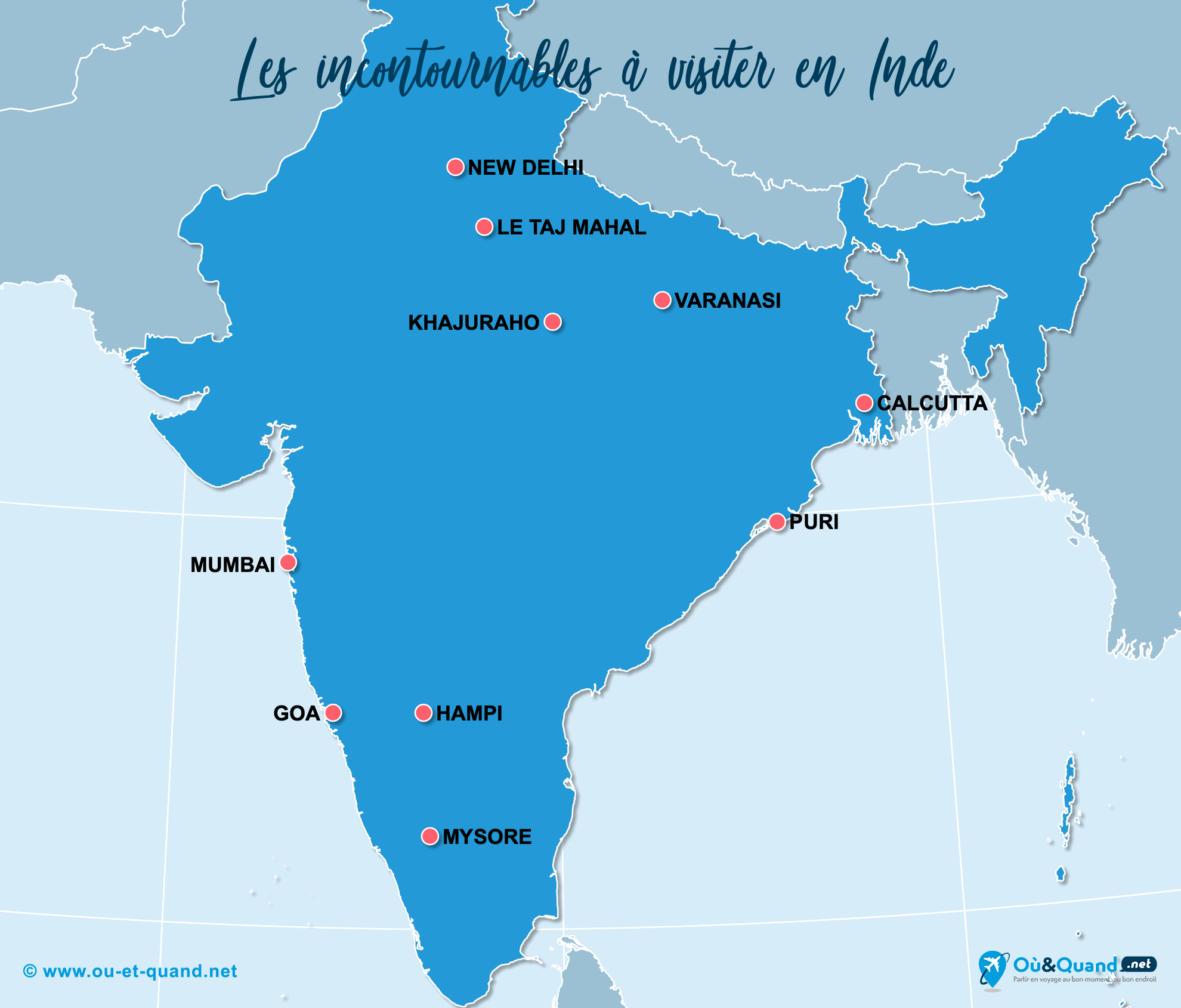 Carte Incontournables Inde