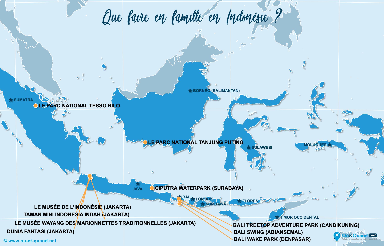 Carte Indonésie : L'Indonésie en famille