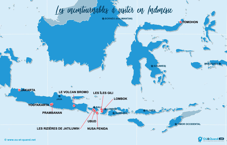 Carte Incontournables Indonésie