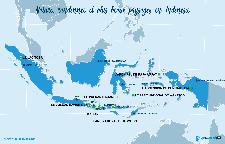 Carte Indonésie : Les plus beaux paysages de l'Indonésie