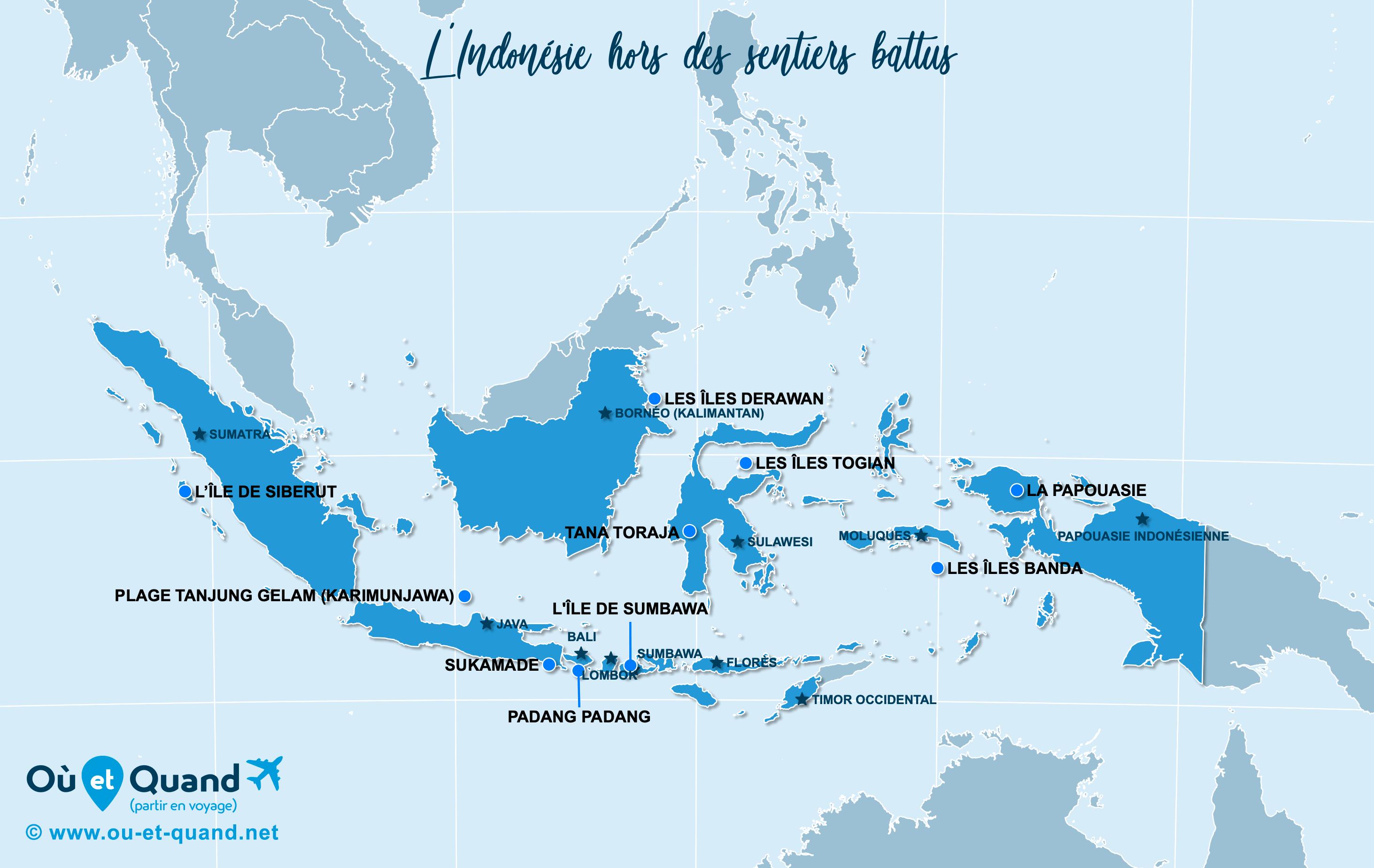 Carte Indonésie : L'Indonésie hors des sentiers battus