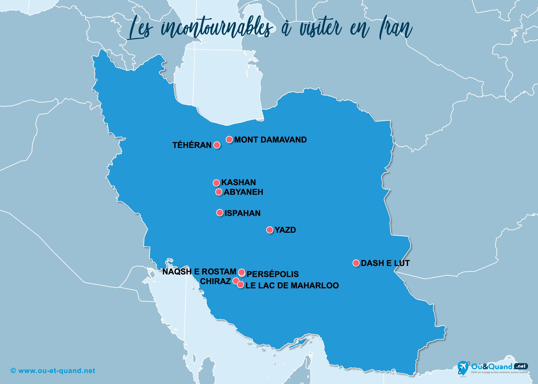 Carte Iran : Les lieux incontournables en Iran