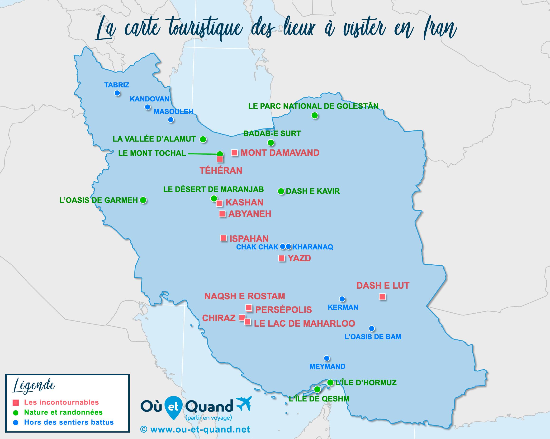 Carte Iran : tous les lieux à visiter lors de votre voyage