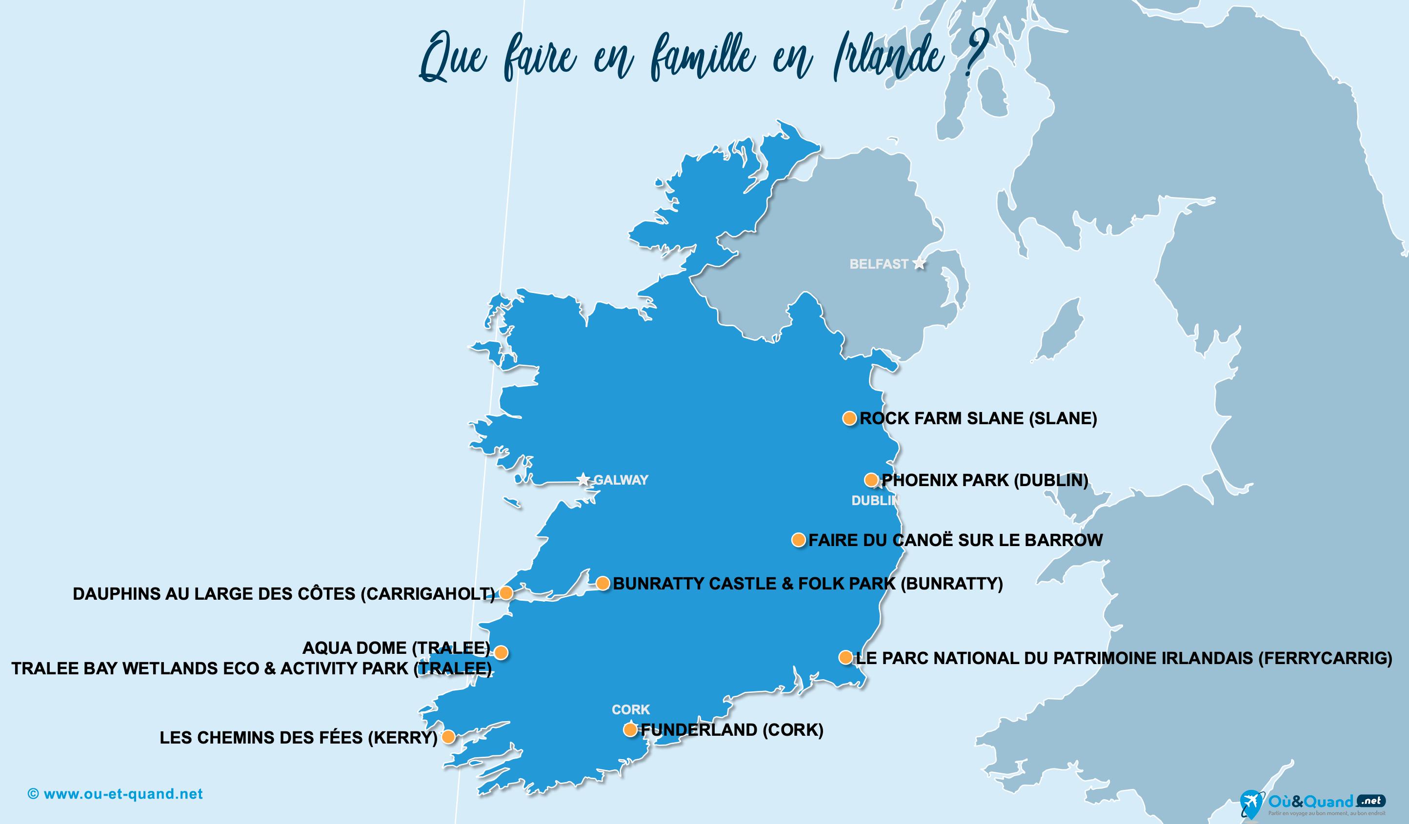 Carte Irlande (Éire) : L'Irlande en famille