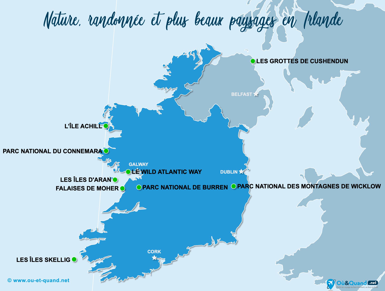Carte Irlande (Éire) : Les plus beaux paysages de l'Irlande