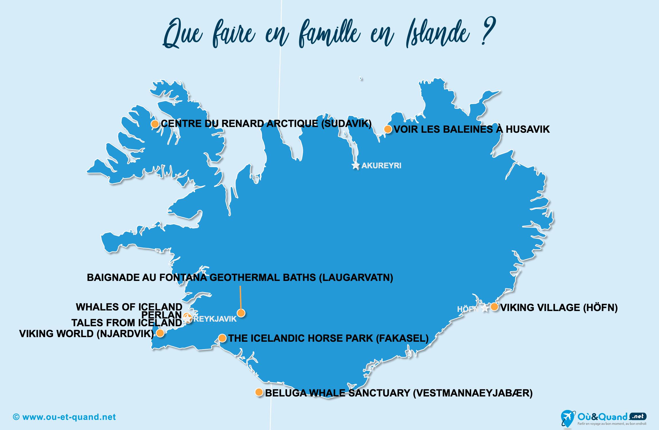 Carte Islande : L'Islande en famille