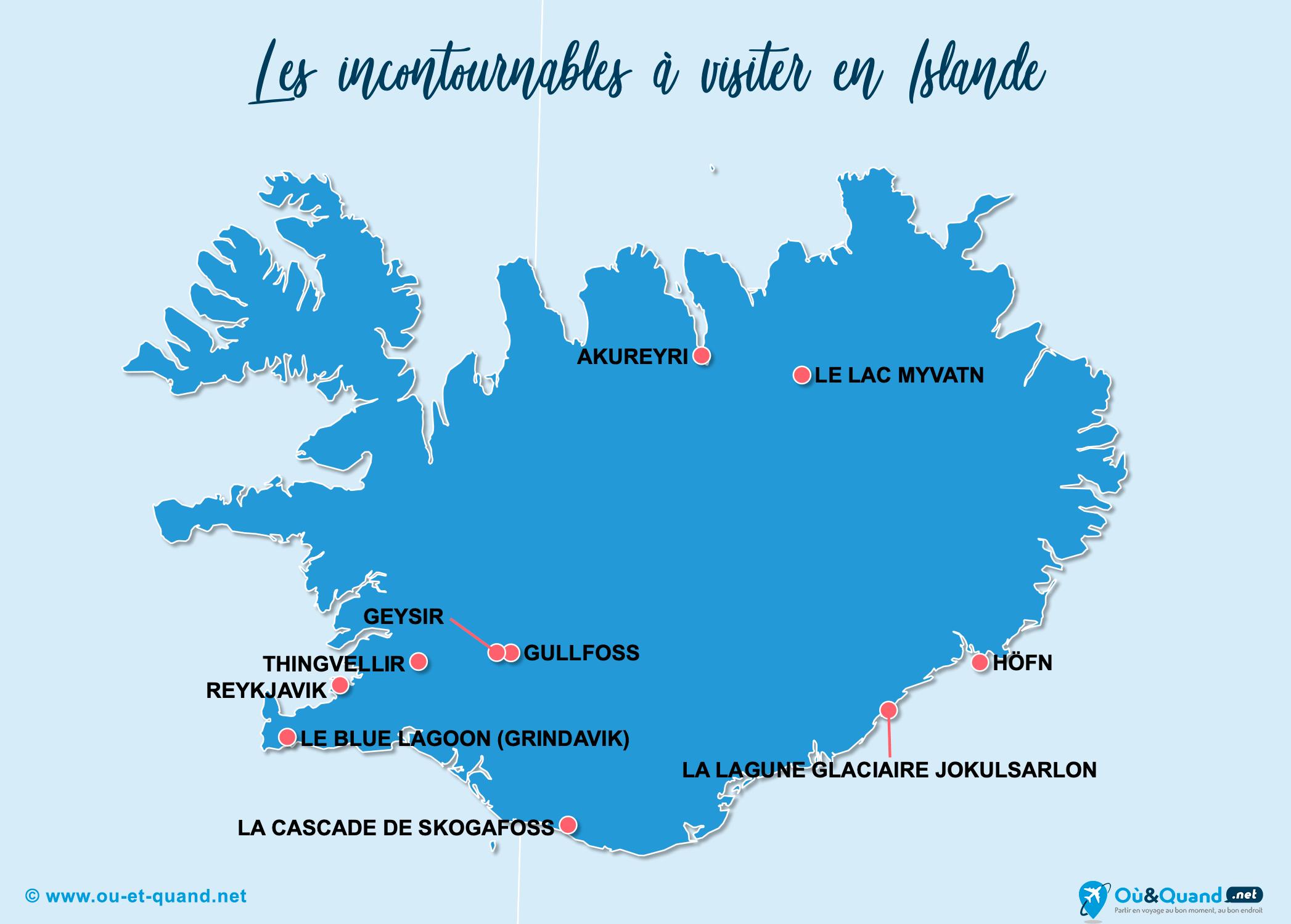Carte Islande : Les lieux incontournables en Islande