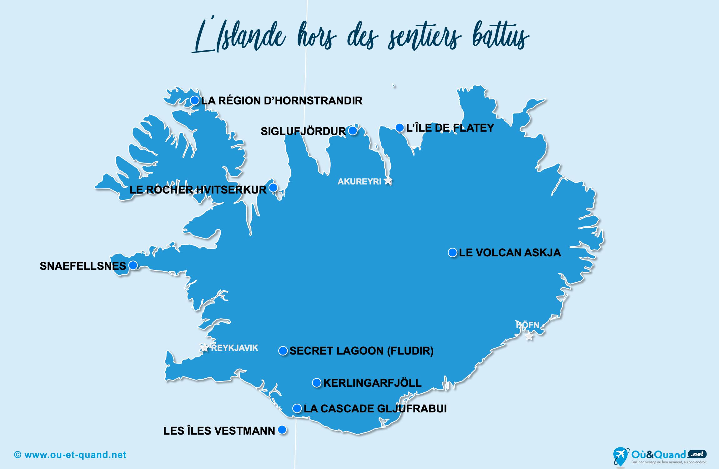 Carte Islande : L'Islande hors des sentiers battus