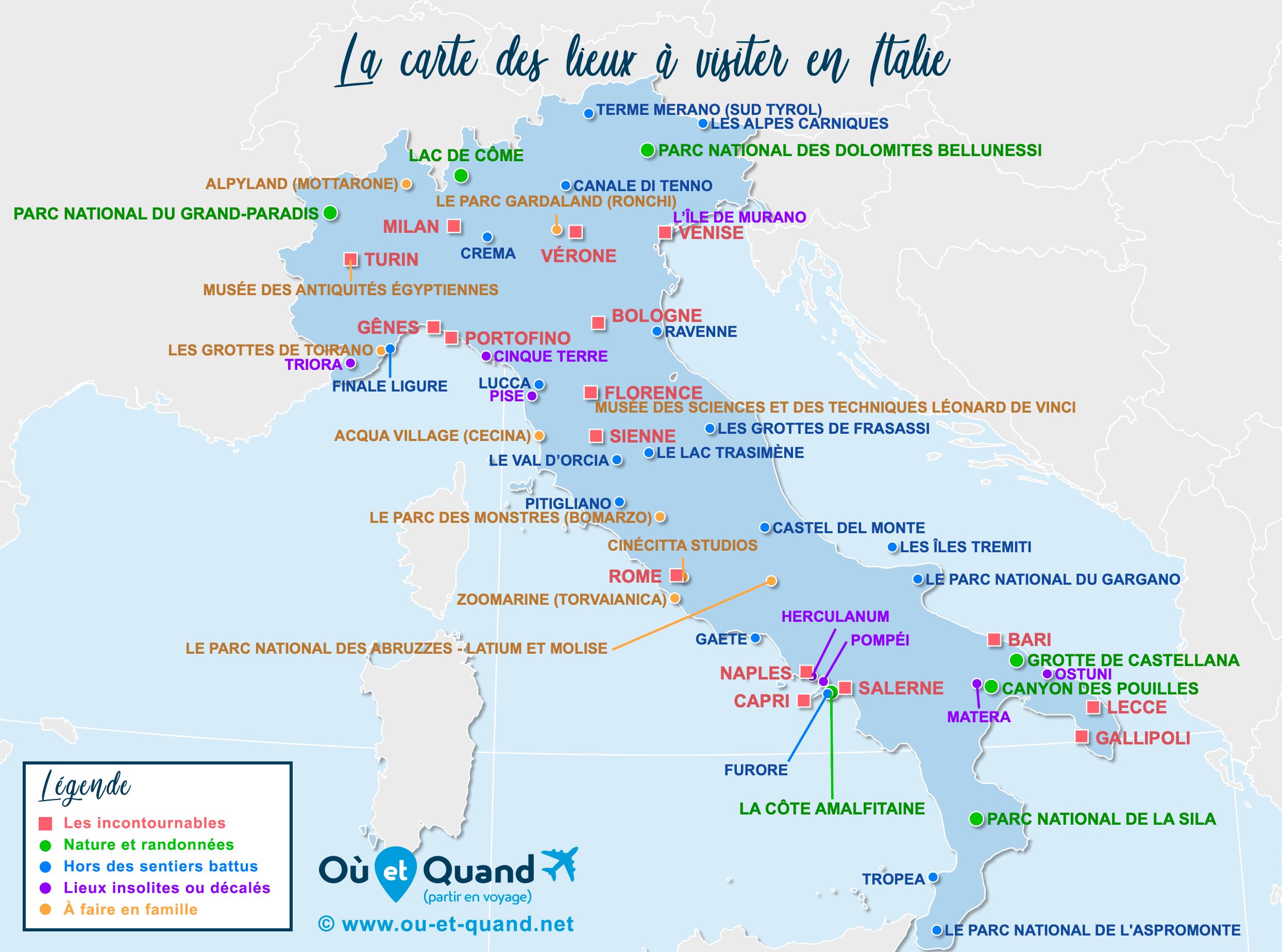 Carte Italie : tous les lieux à visiter lors de votre voyage