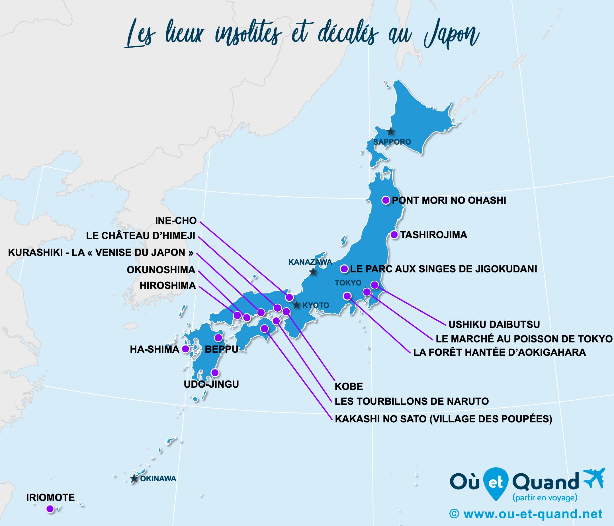 La carte des lieux insolites au Japon