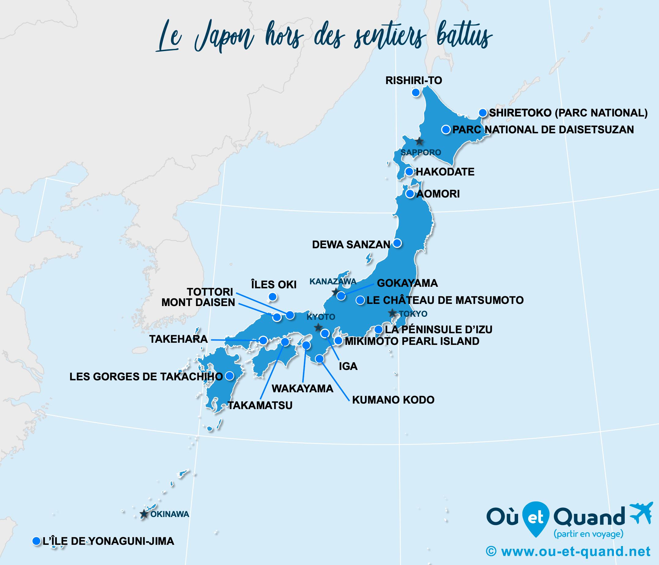 Carte Japon : Le Japon hors des sentiers battus