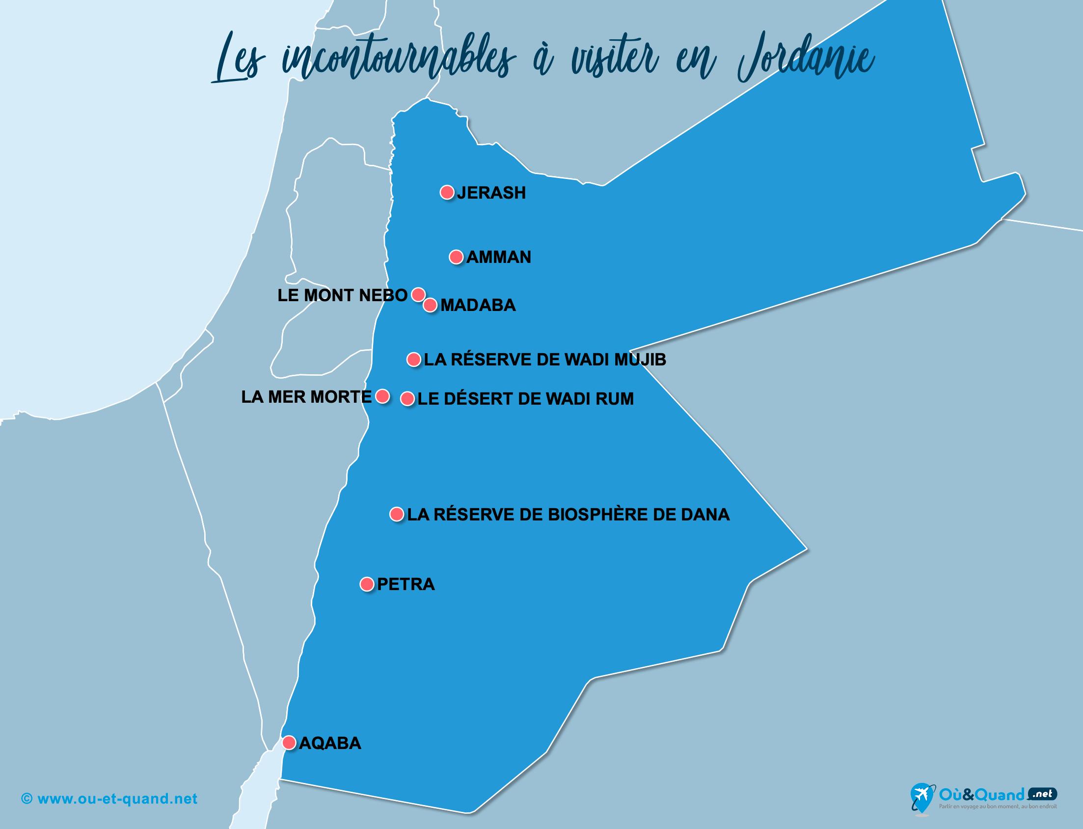Carte Jordanie : Les lieux incontournables en Jordanie