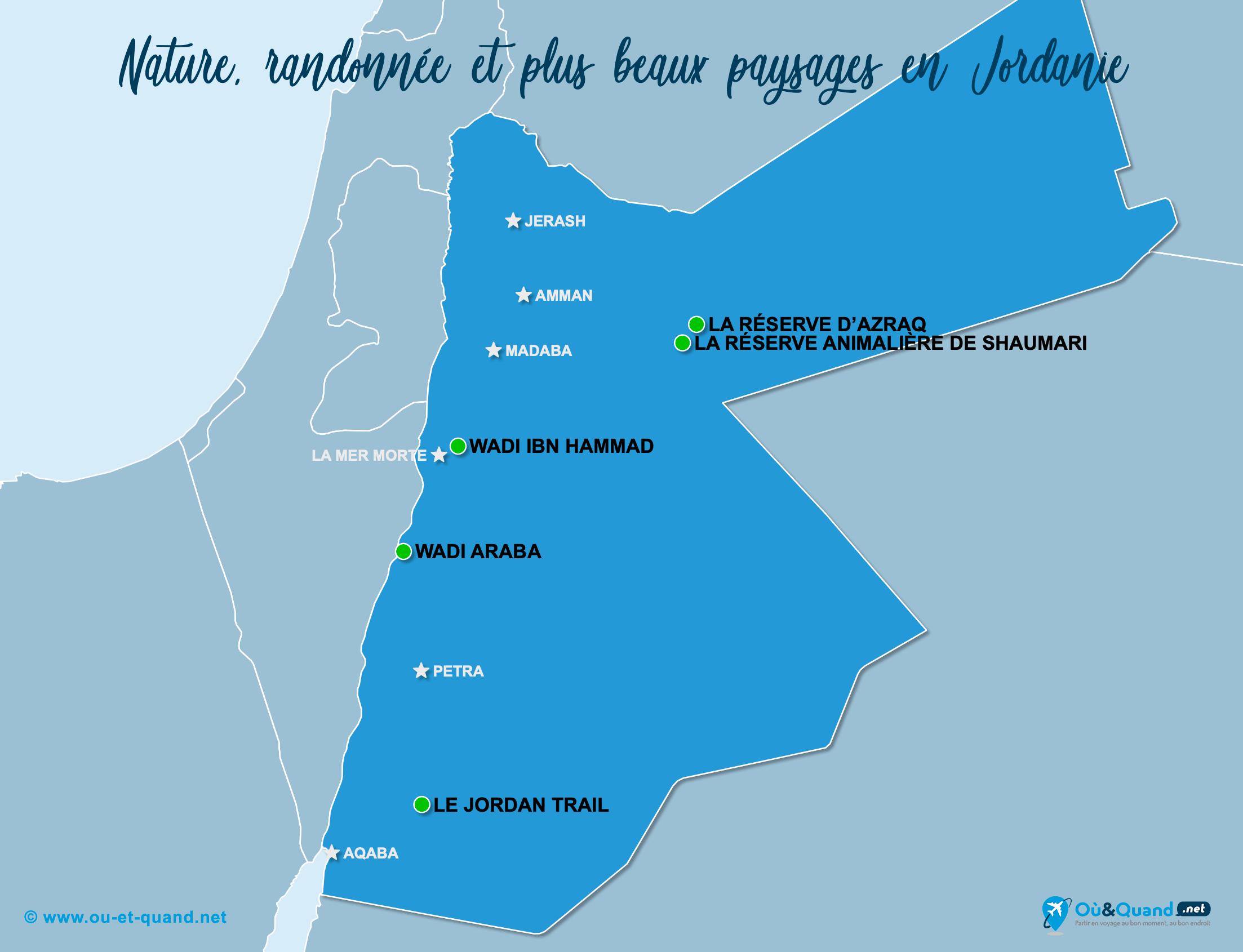 Carte Jordanie : Les plus beaux paysages de la Jordanie