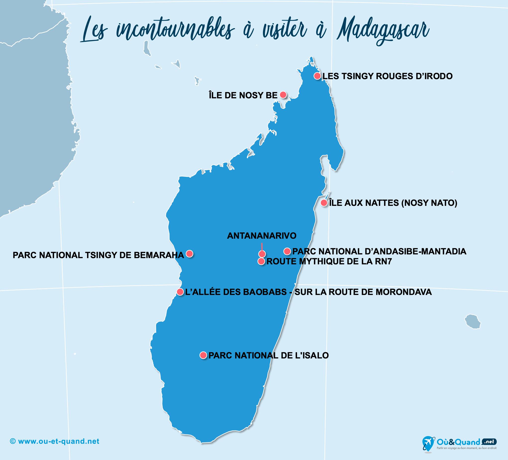 Carte Madagascar : Les lieux incontournables à Madagascar