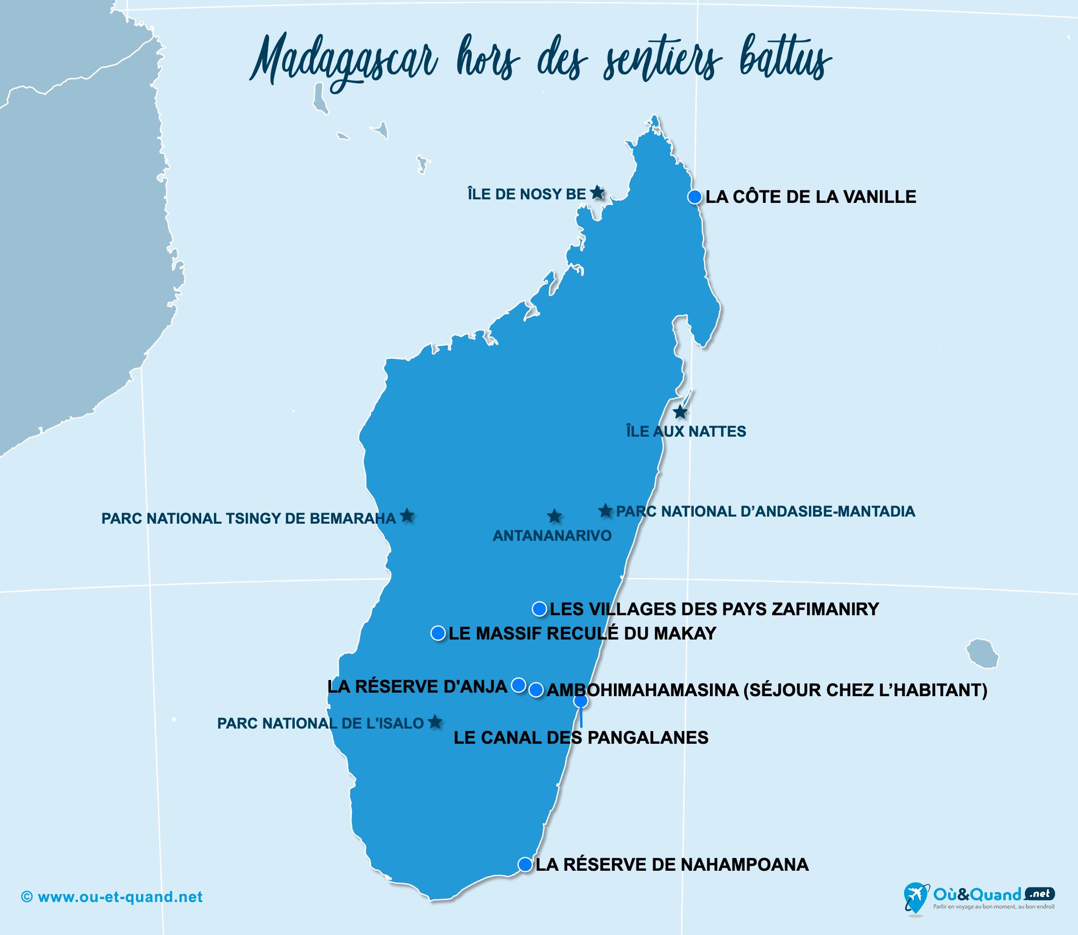Carte Madagascar : Madagascar hors des sentiers battus