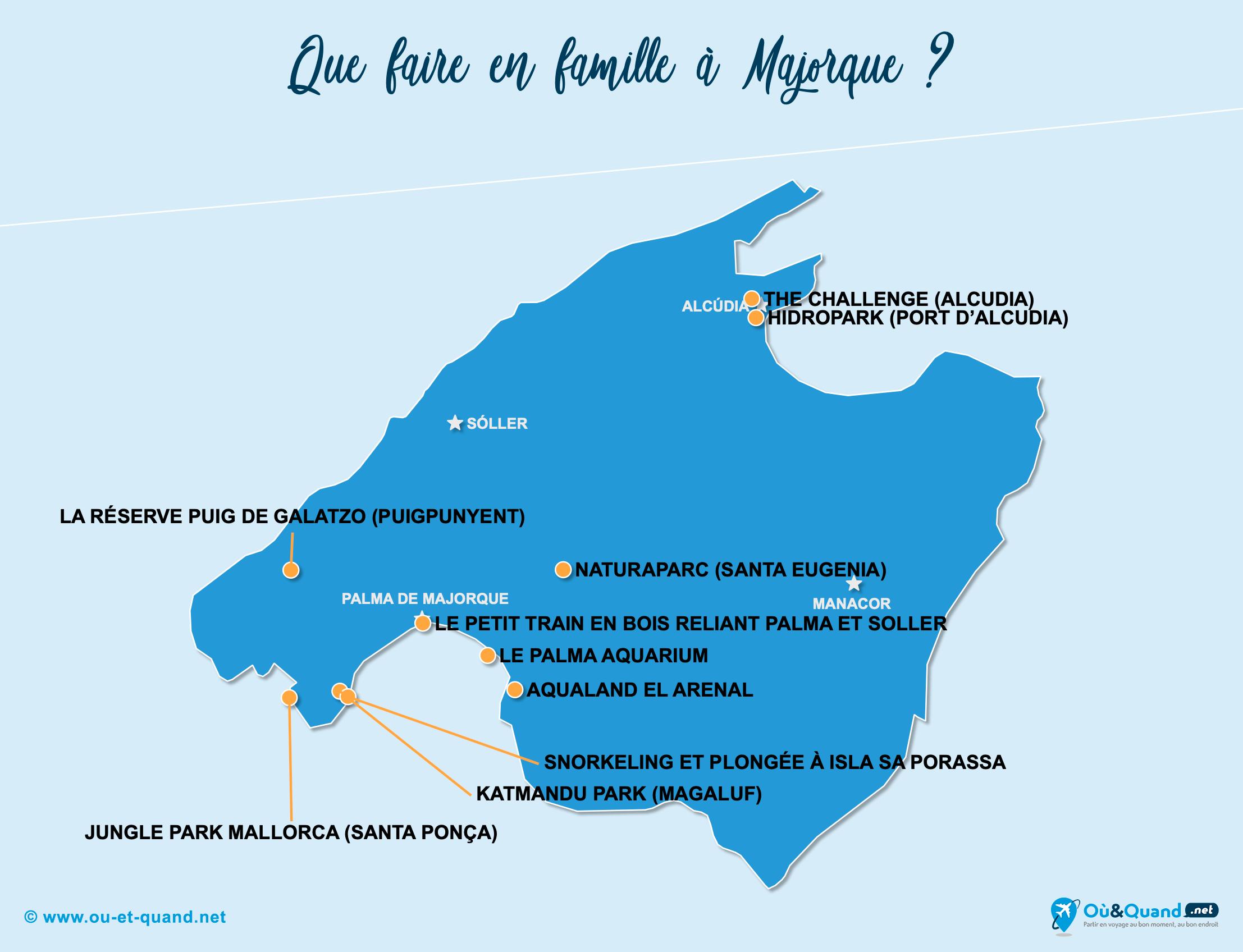 Carte Majorque : Majorque en famille