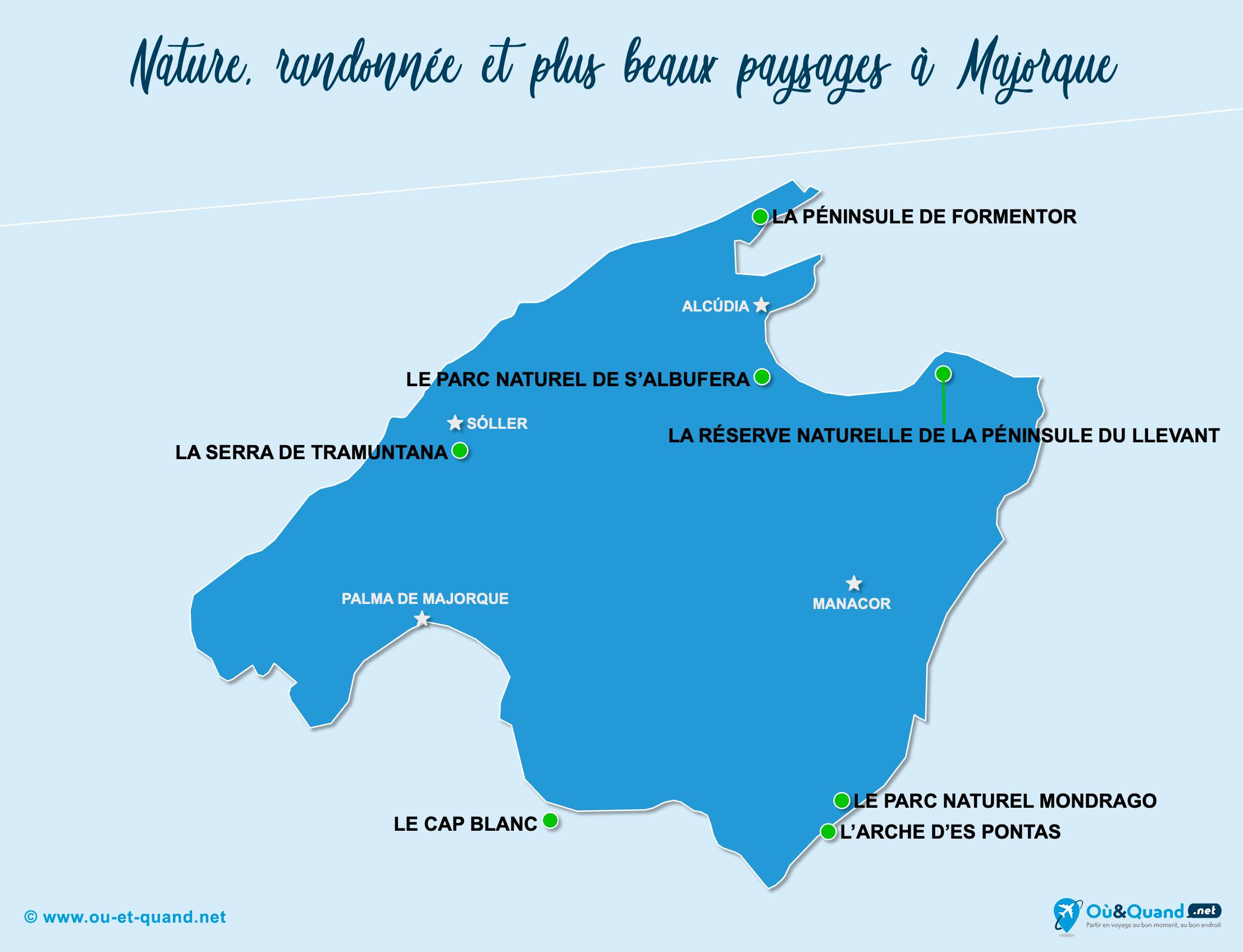 Carte Majorque : Les plus beaux paysages de Majorque