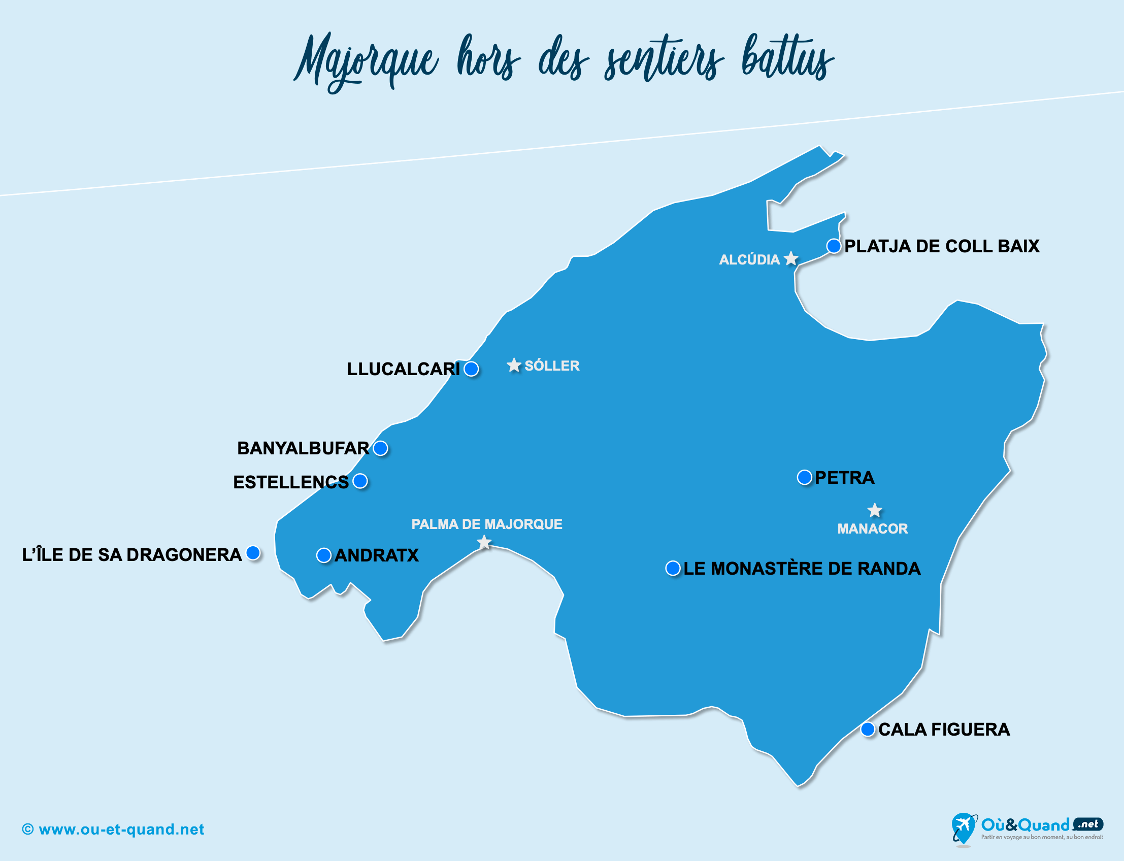 Carte Majorque : Majorque hors des sentiers battus