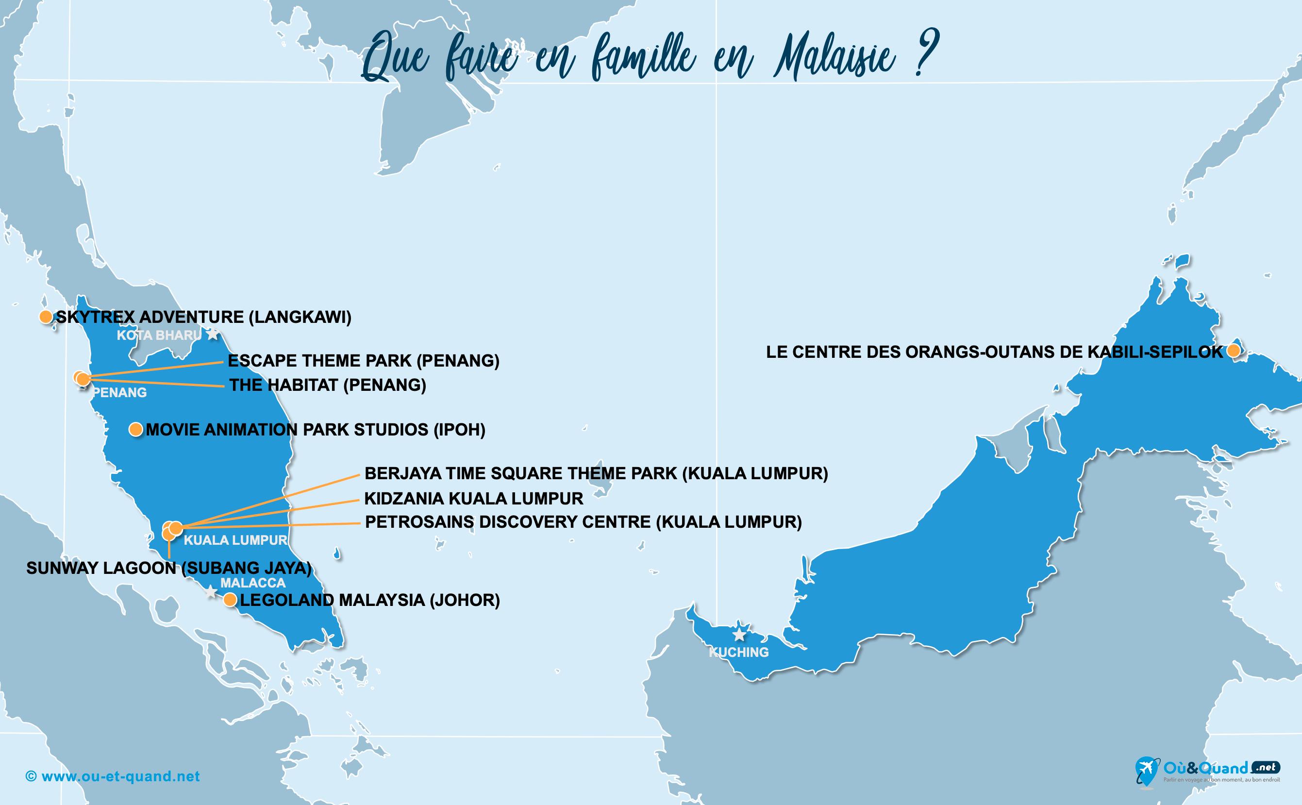 Carte Malaisie : La Malaisie en famille
