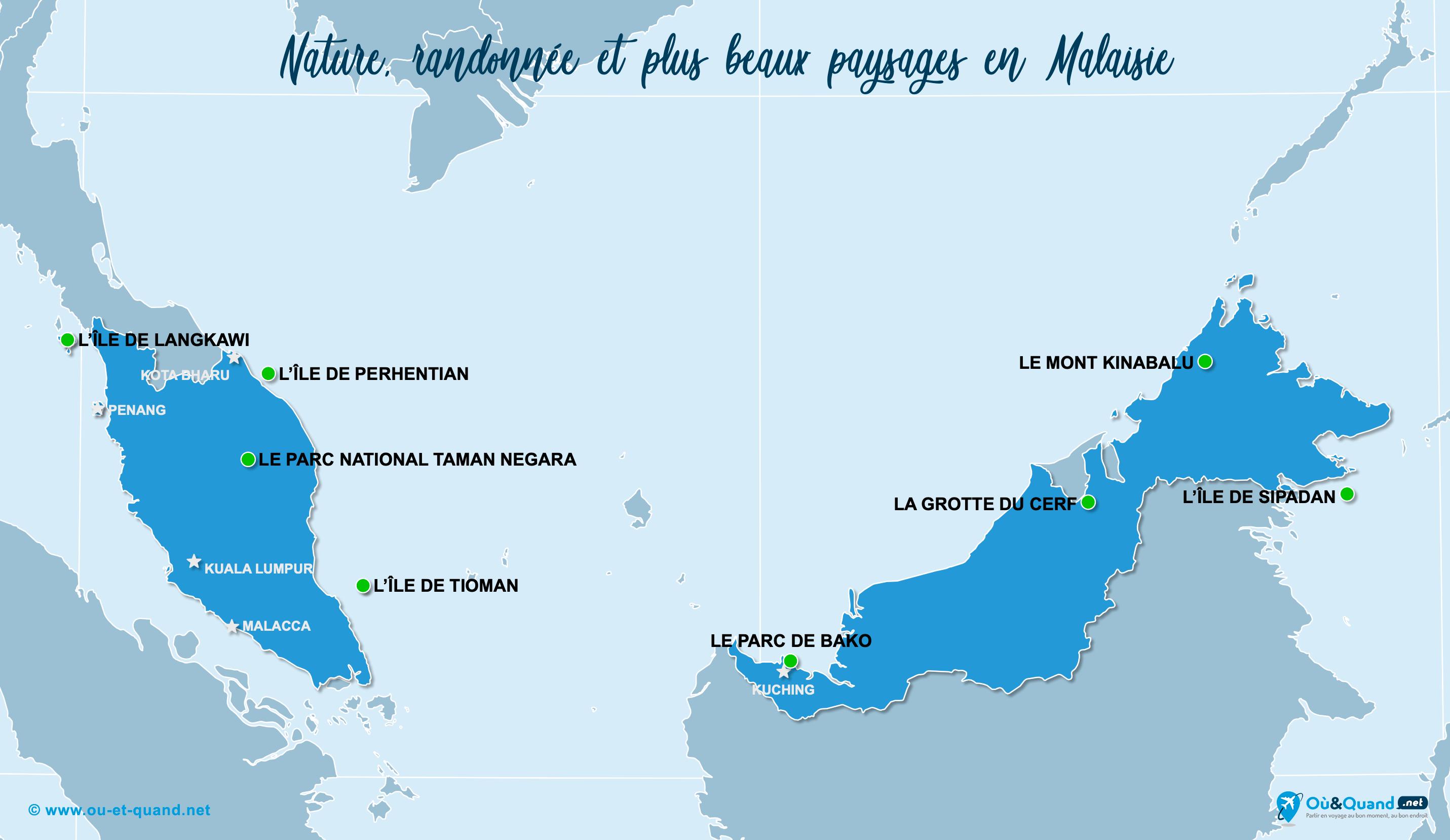 Carte Malaisie : Les plus beaux paysages de la Malaisie