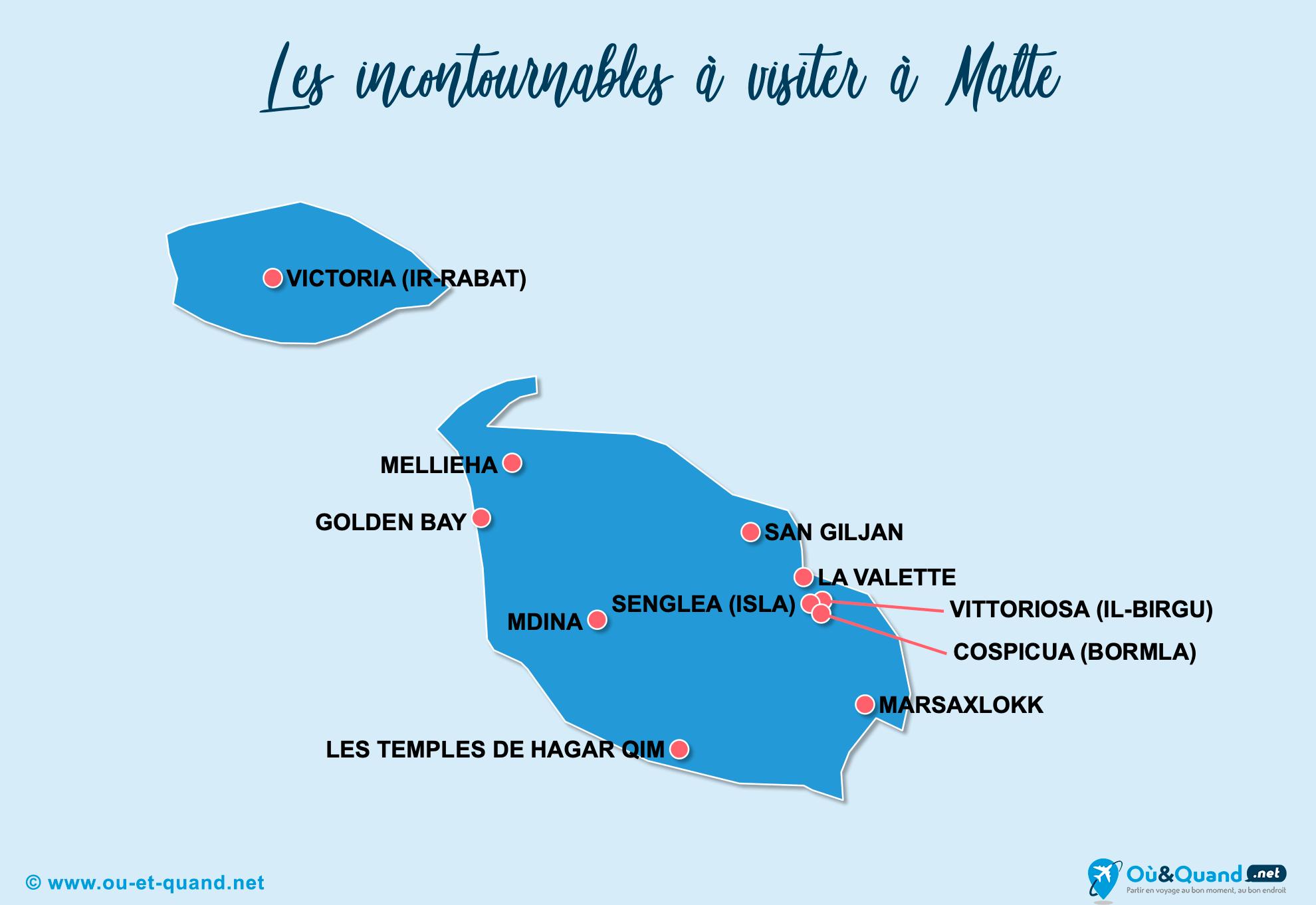Carte Incontournables Malte