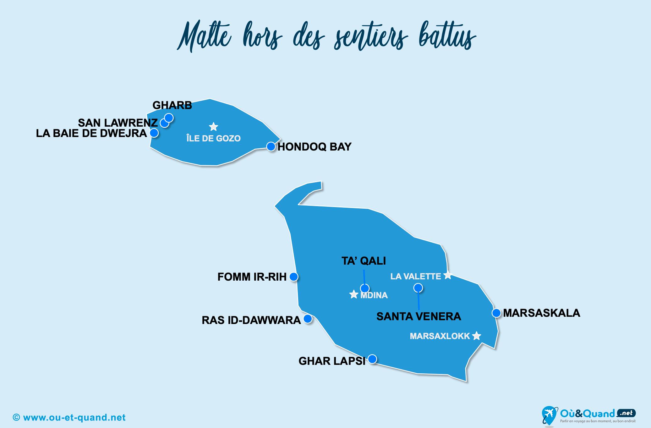 Carte Malte : Malte hors des sentiers battus