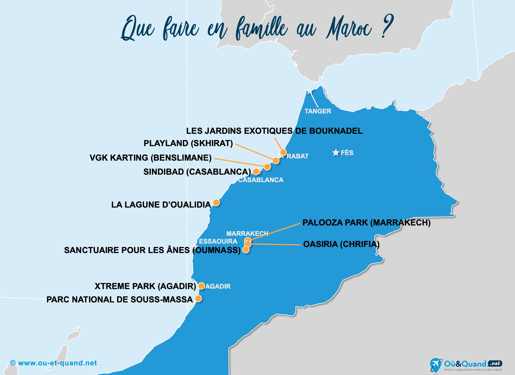 Carte Maroc : Le Maroc en famille
