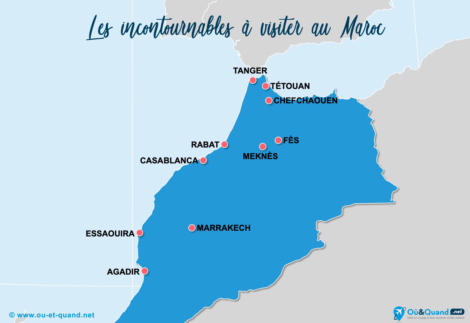 Carte Maroc : Les lieux incontournables au Maroc