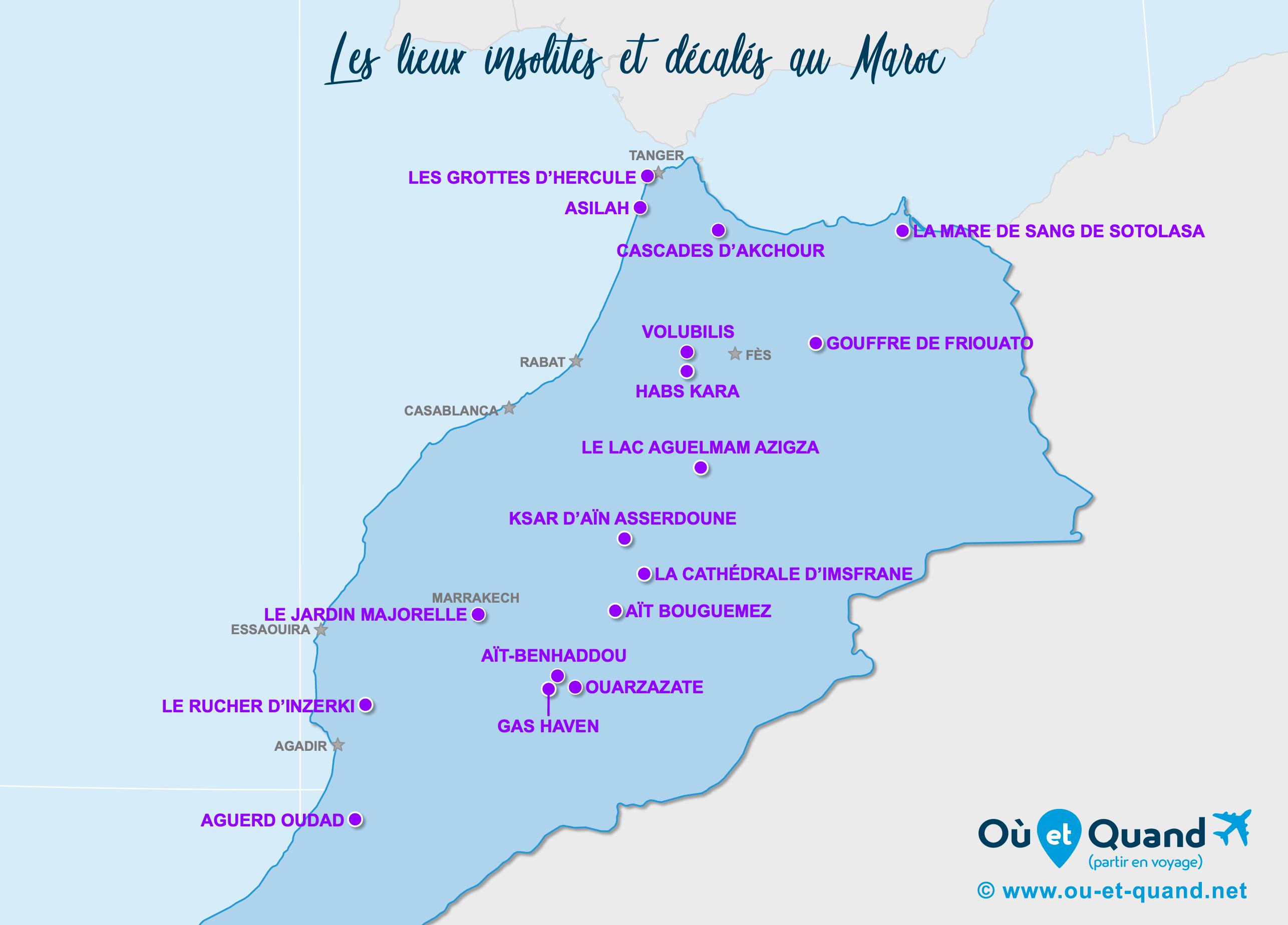 Carte Maroc : Le Maroc insolite