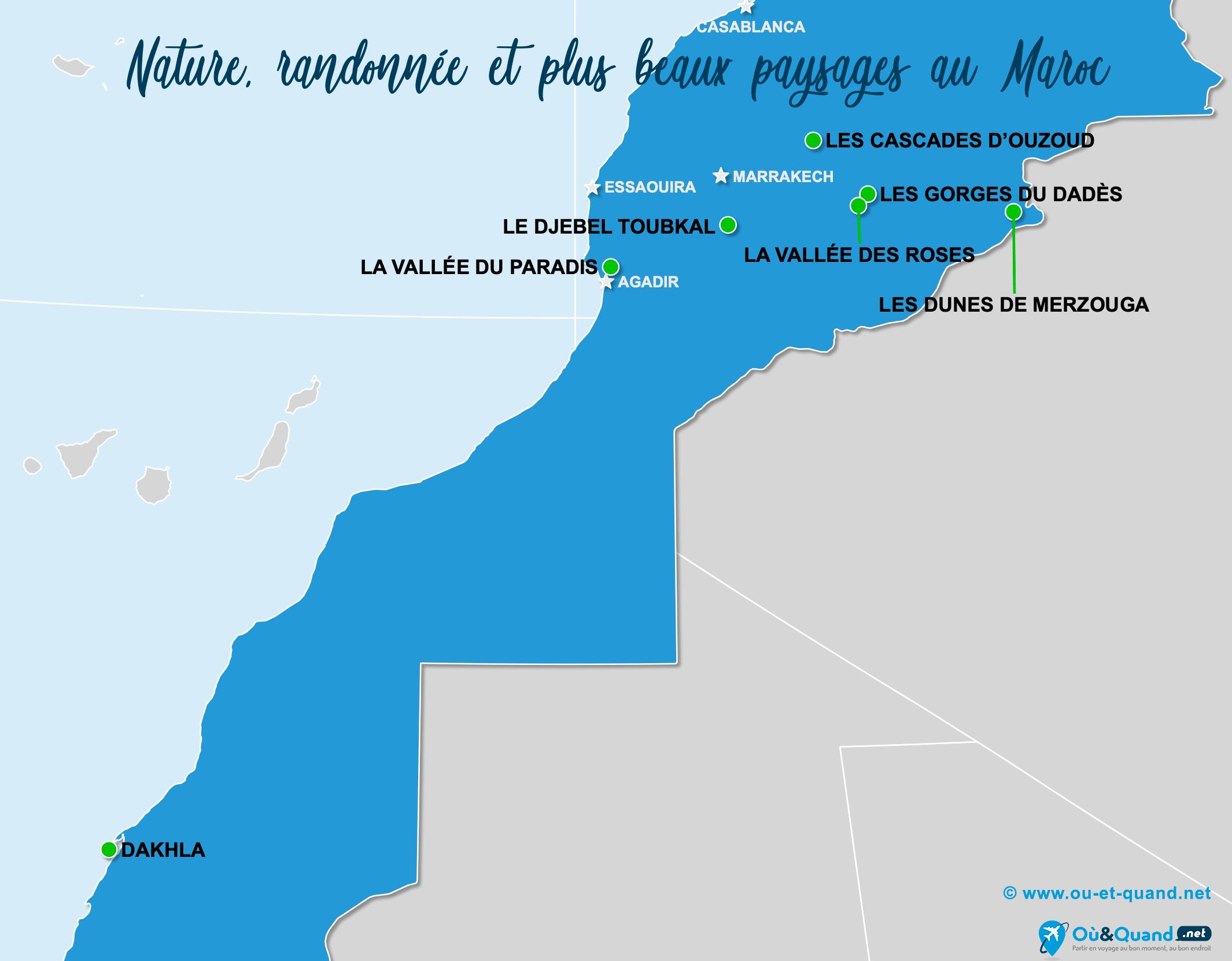 Carte Maroc : Les plus beaux paysages du Maroc