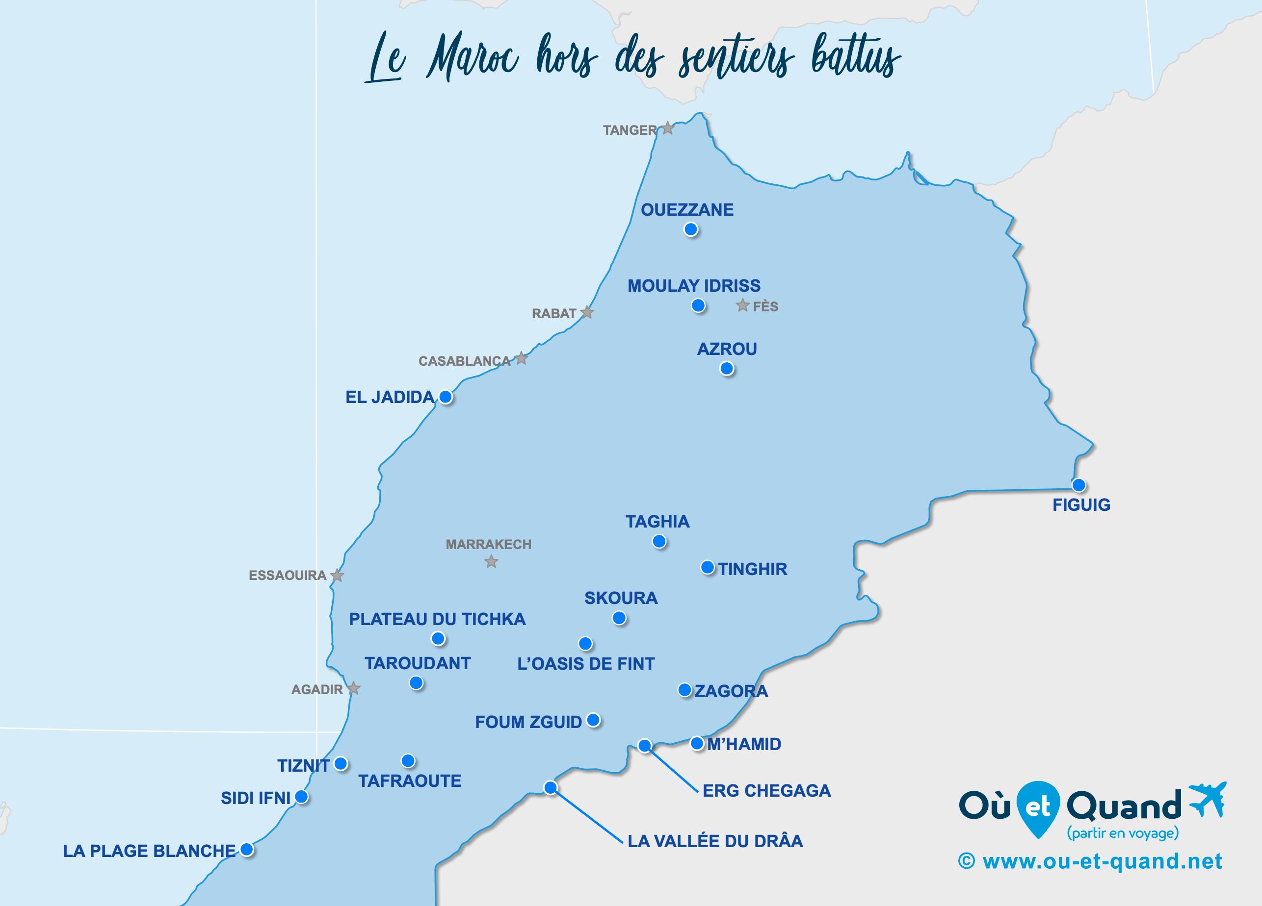 Carte Maroc : Le Maroc hors des sentiers battus