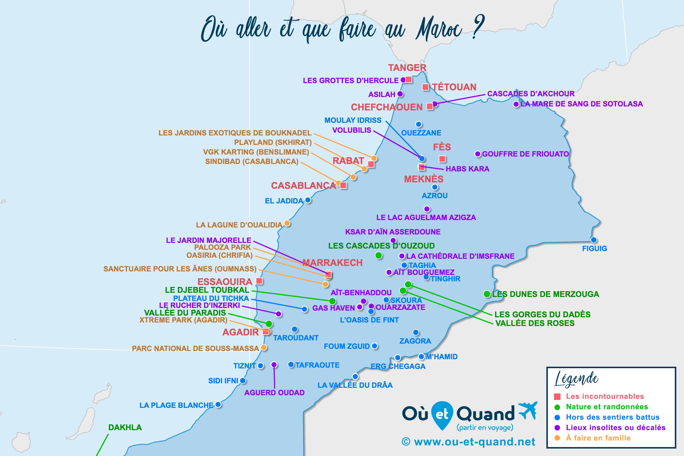Carte Maroc : tous les lieux à visiter lors de votre voyage
