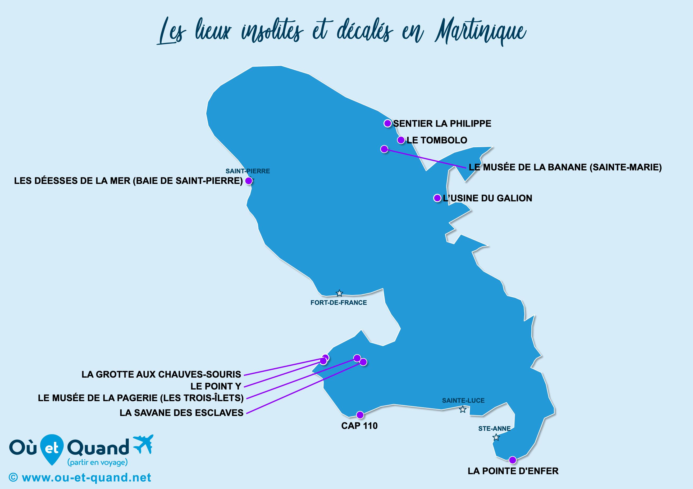 Carte Martinique : La Martinique insolite