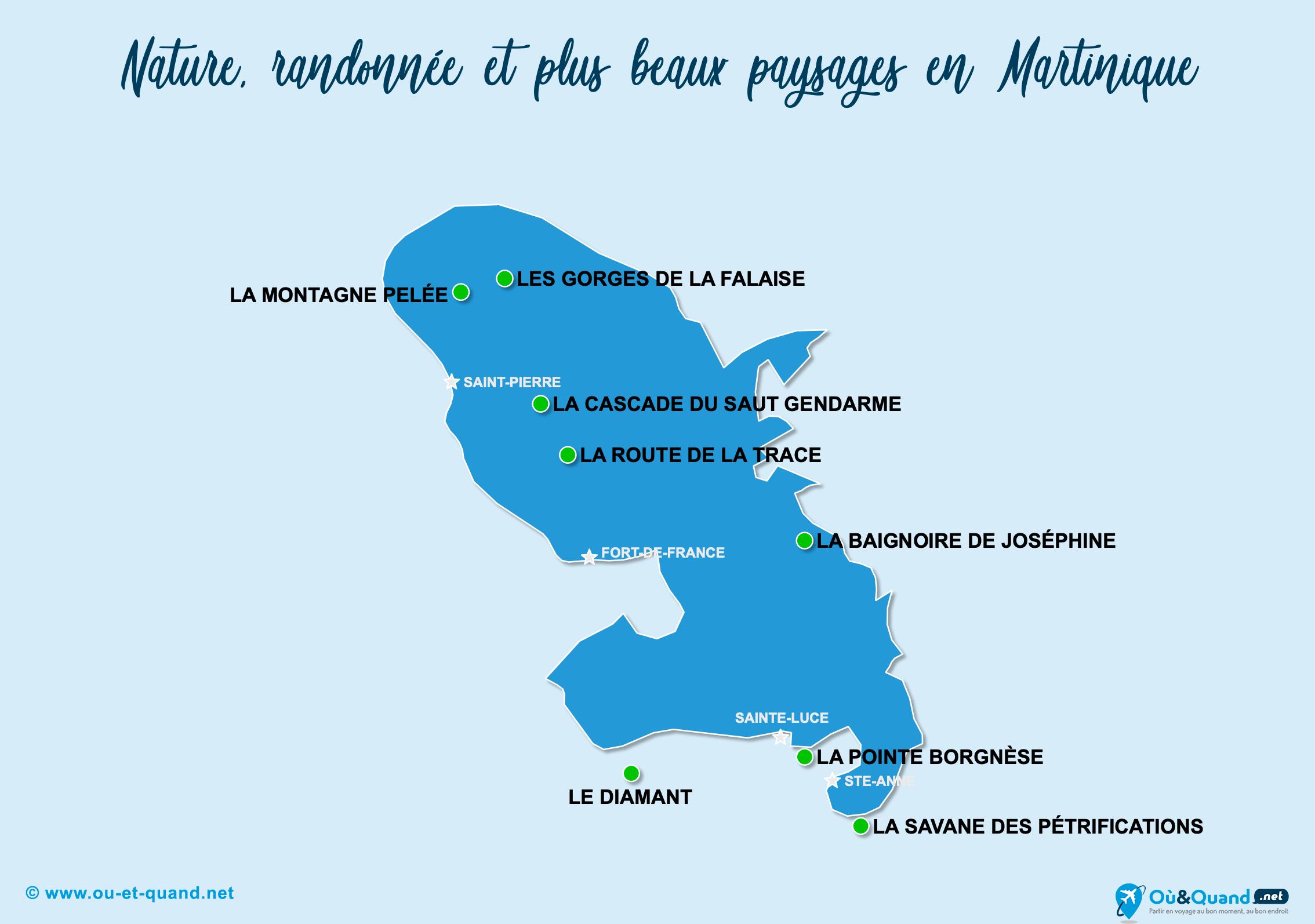 Carte Martinique : Les plus beaux paysages de la Martinique