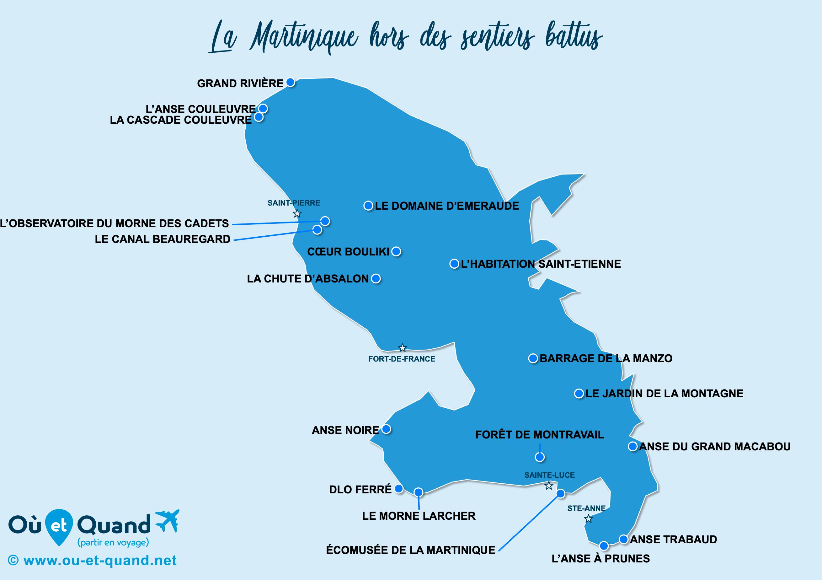Carte Martinique : La Martinique hors des sentiers battus