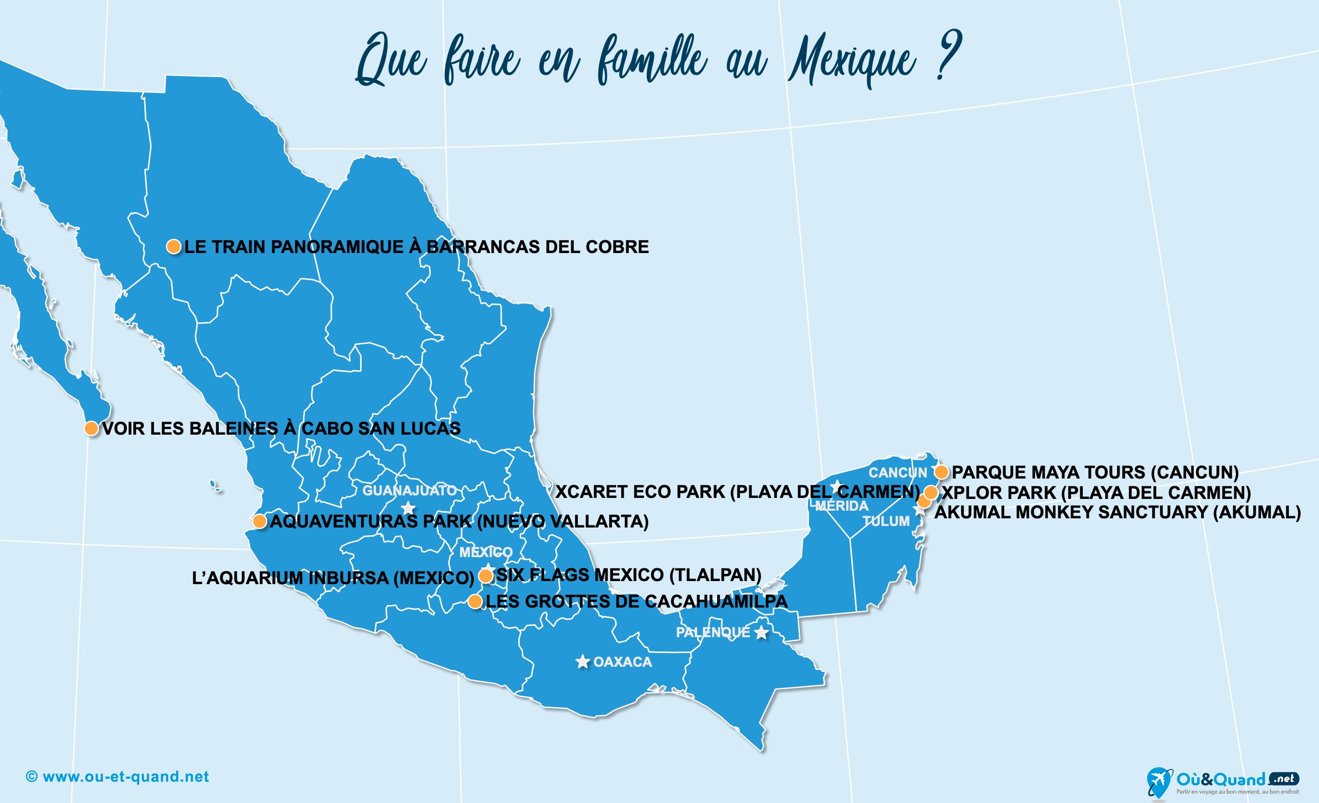 Carte Mexique : Le Mexique en famille