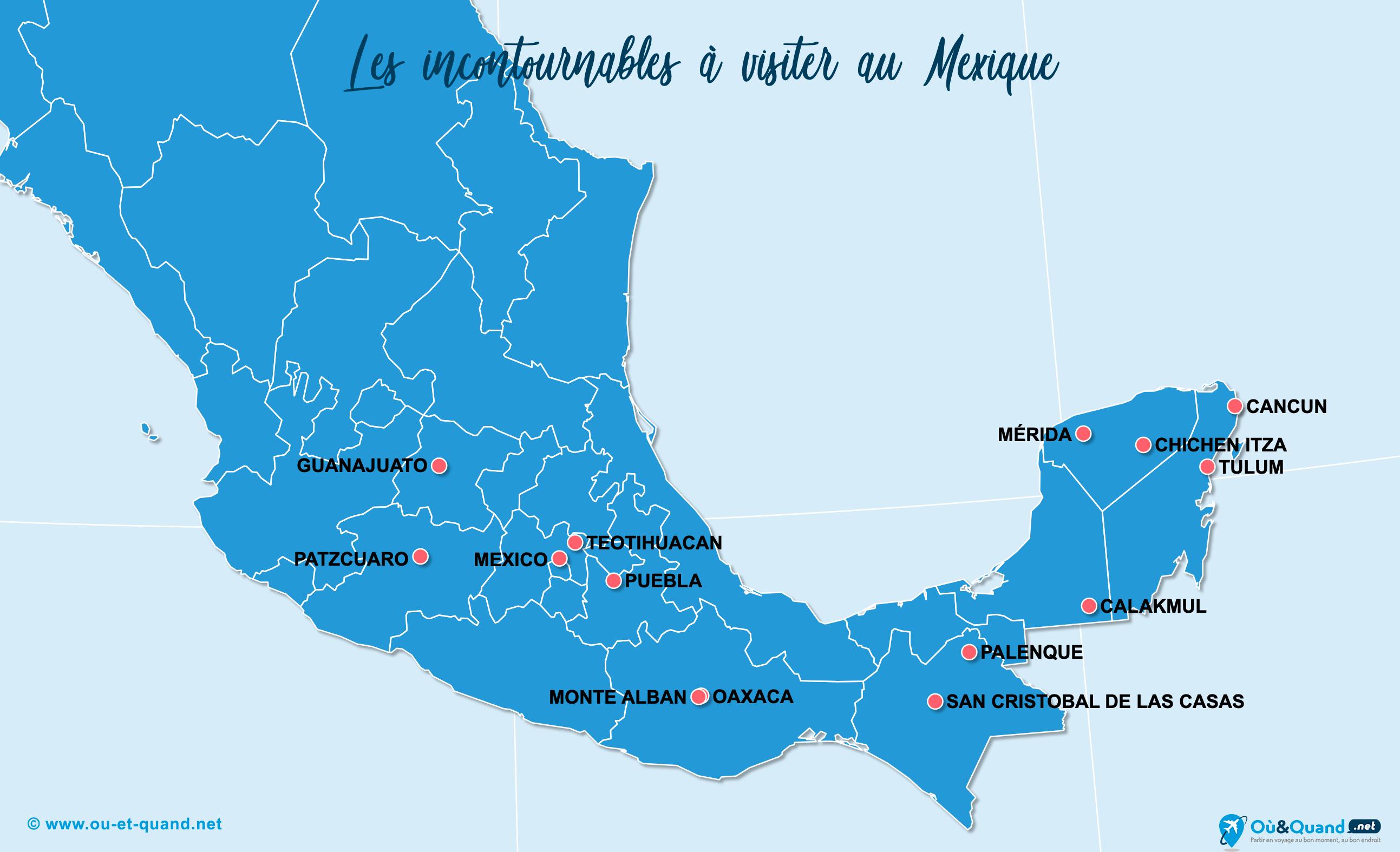Carte Incontournables Mexique