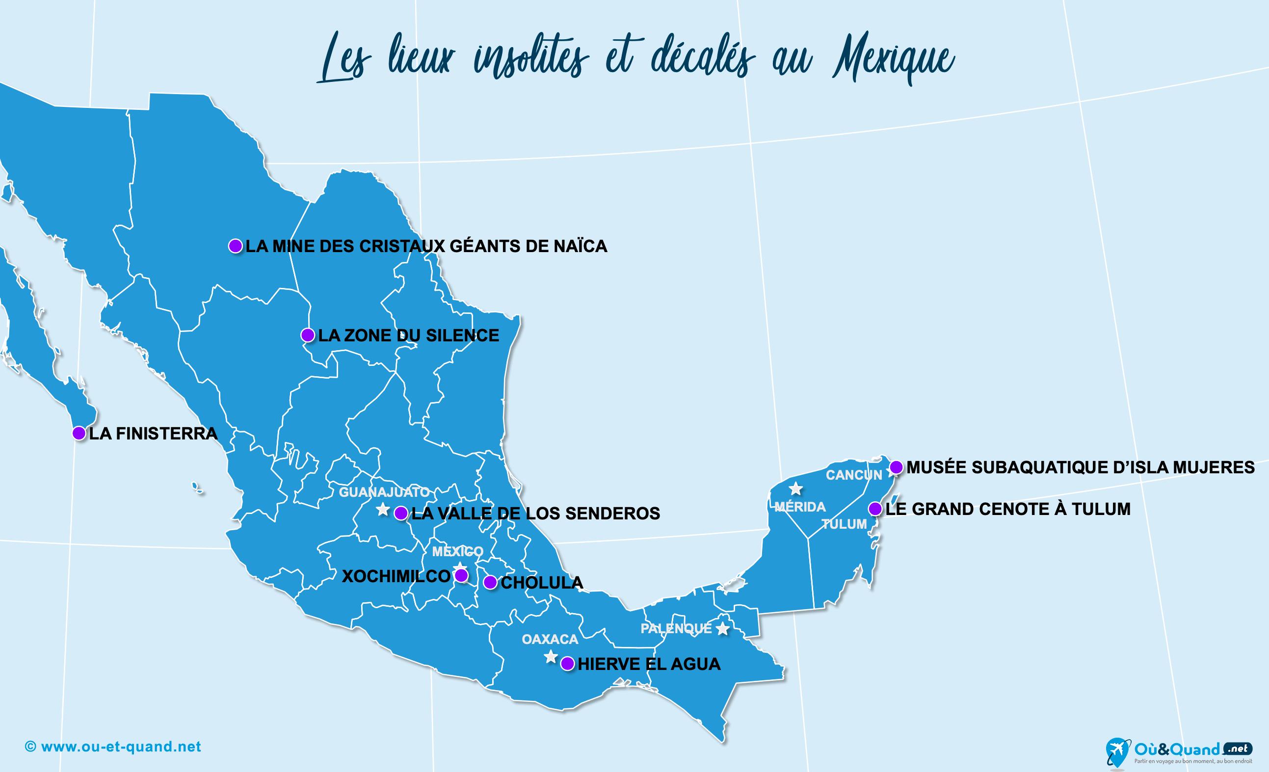 Carte Mexique : Le Mexique insolite