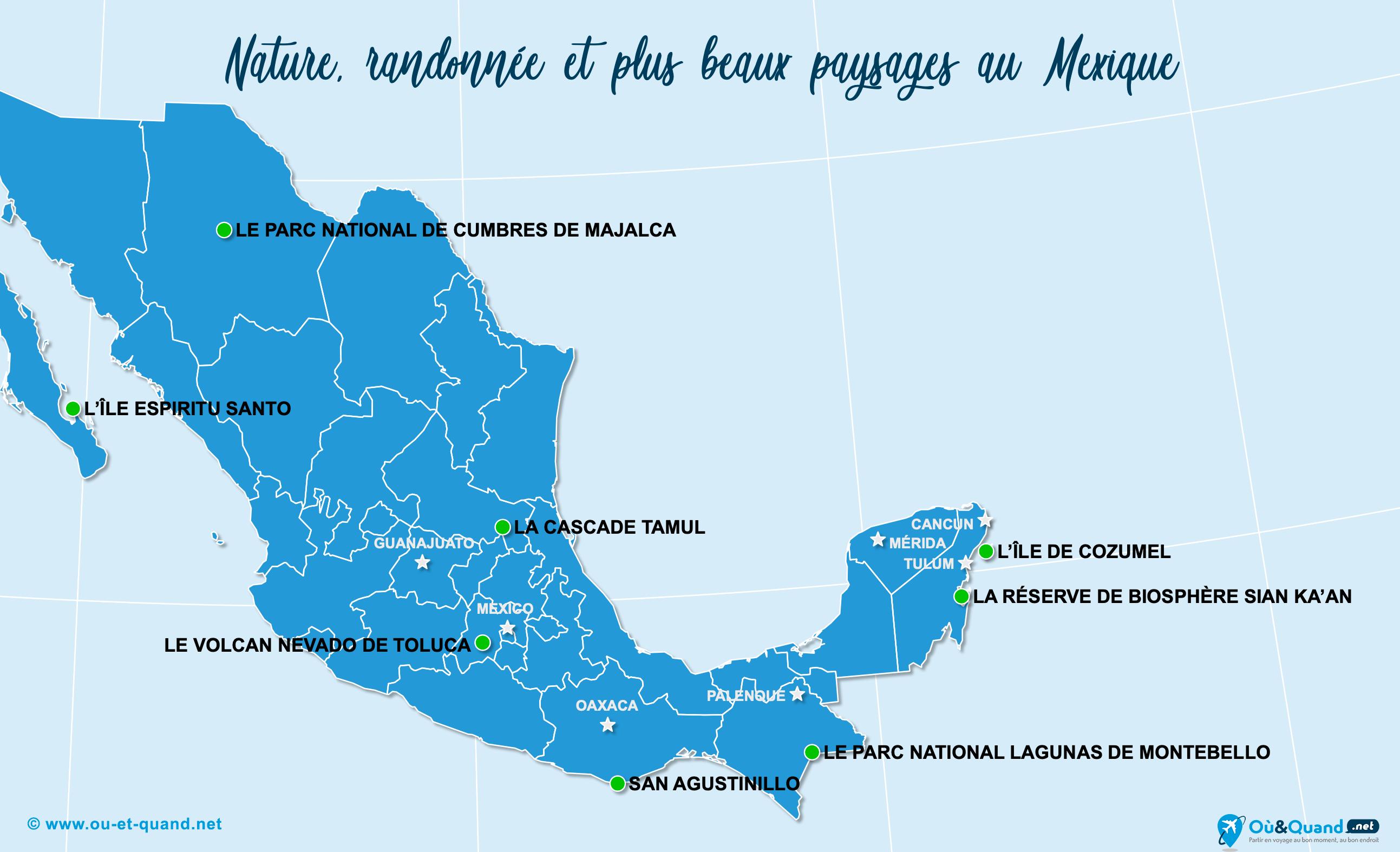 Carte Mexique : Les plus beaux paysages du Mexique
