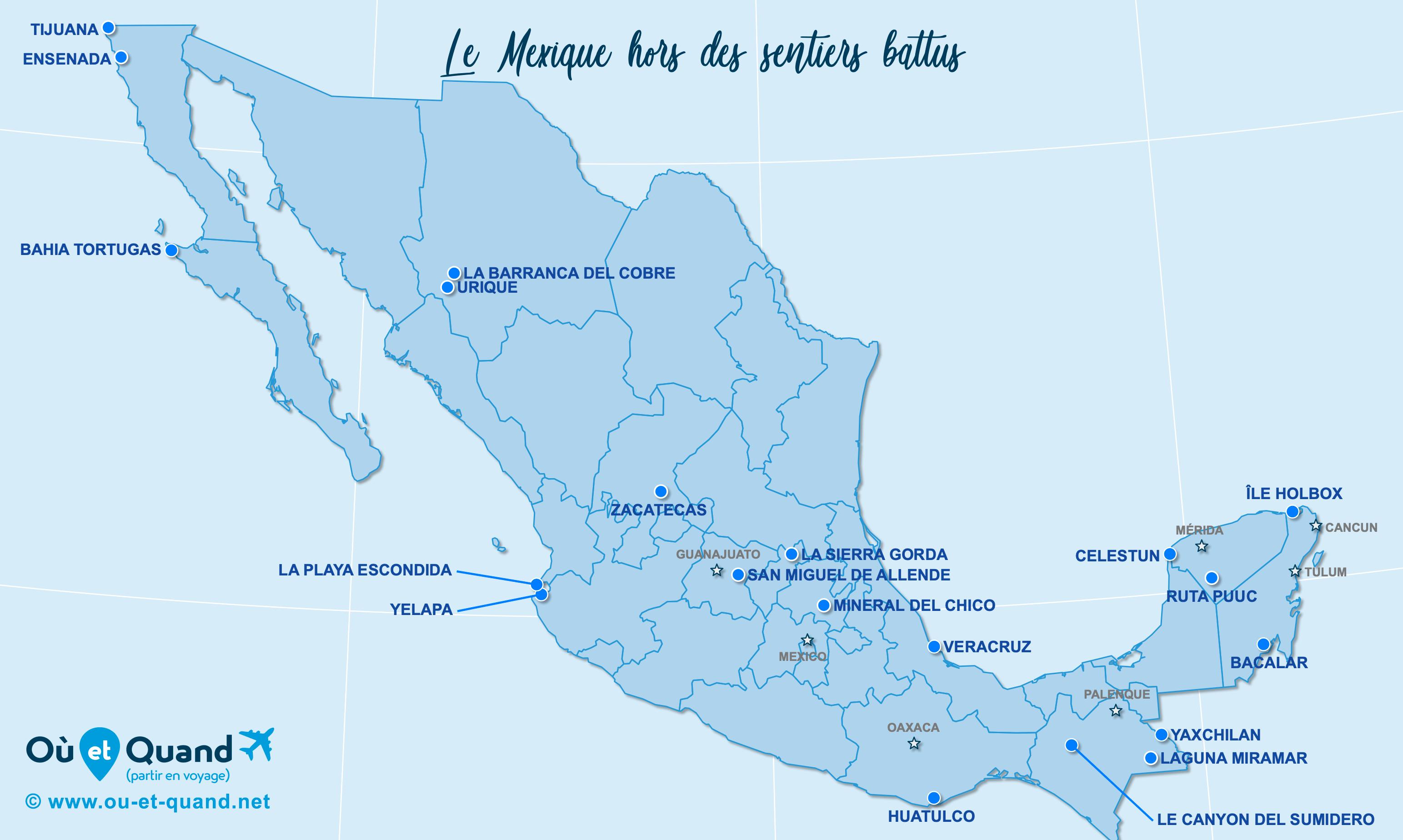 Carte Mexique : Le Mexique hors des sentiers battus