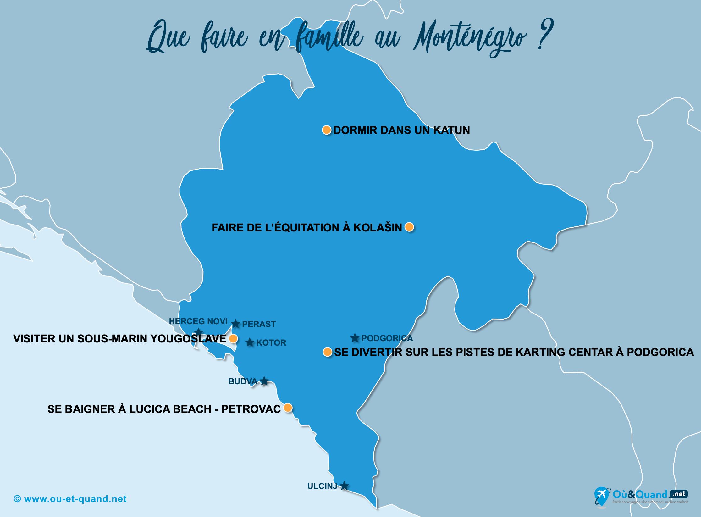 Carte Monténégro : Le Monténégro en famille