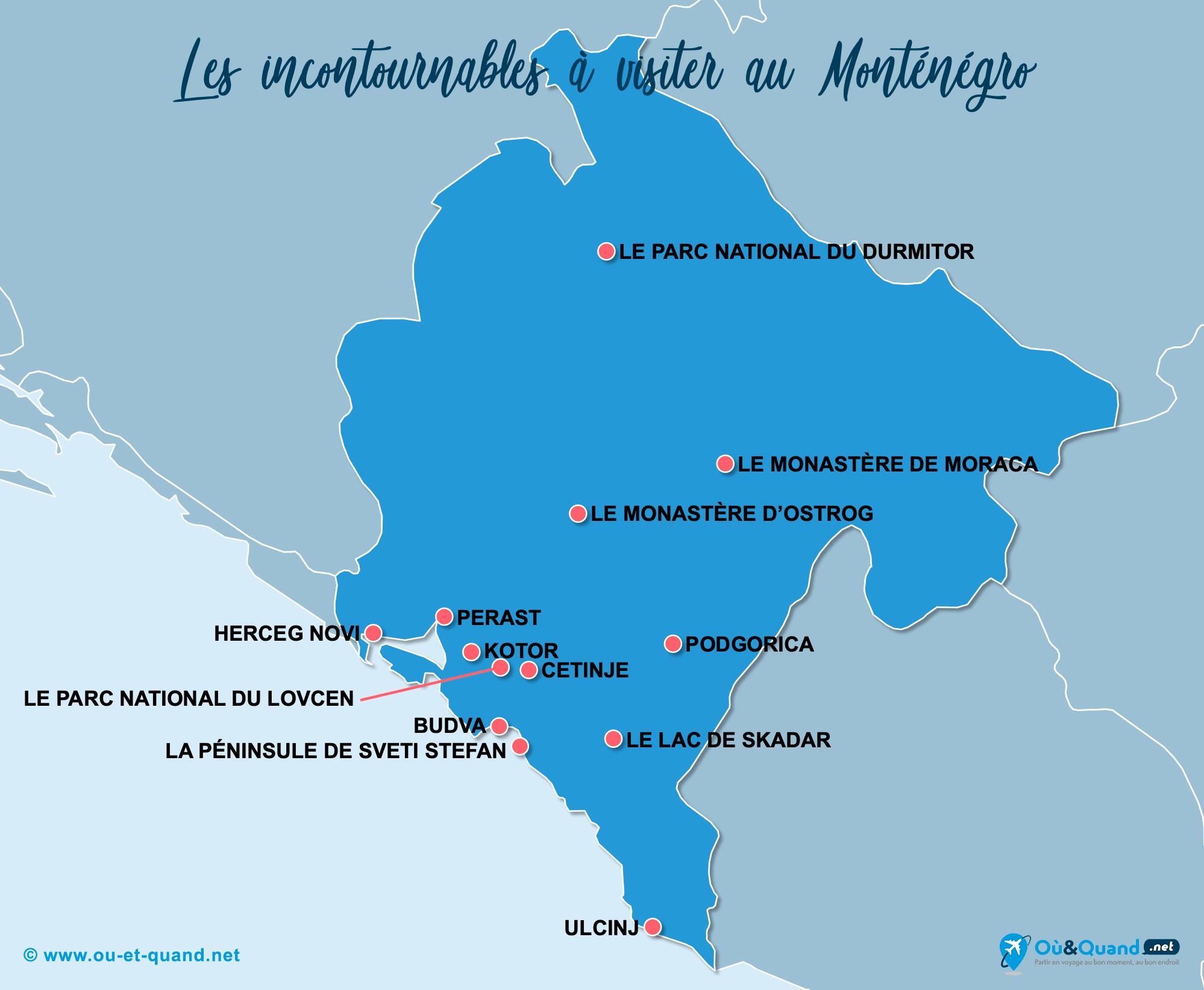 Carte Monténégro : Les lieux incontournables au Monténégro