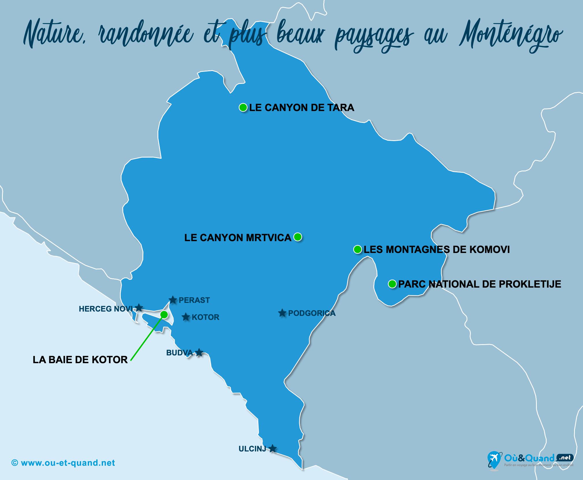 Carte Monténégro : Les plus beaux paysages du Monténégro