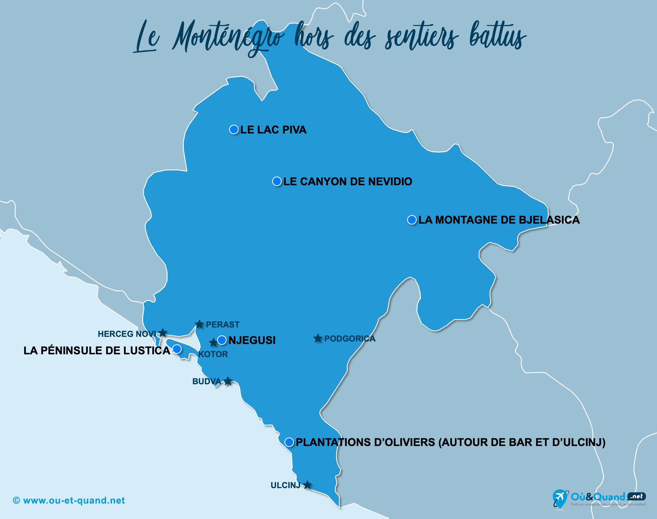 Carte Monténégro : Le Monténégro hors des sentiers battus
