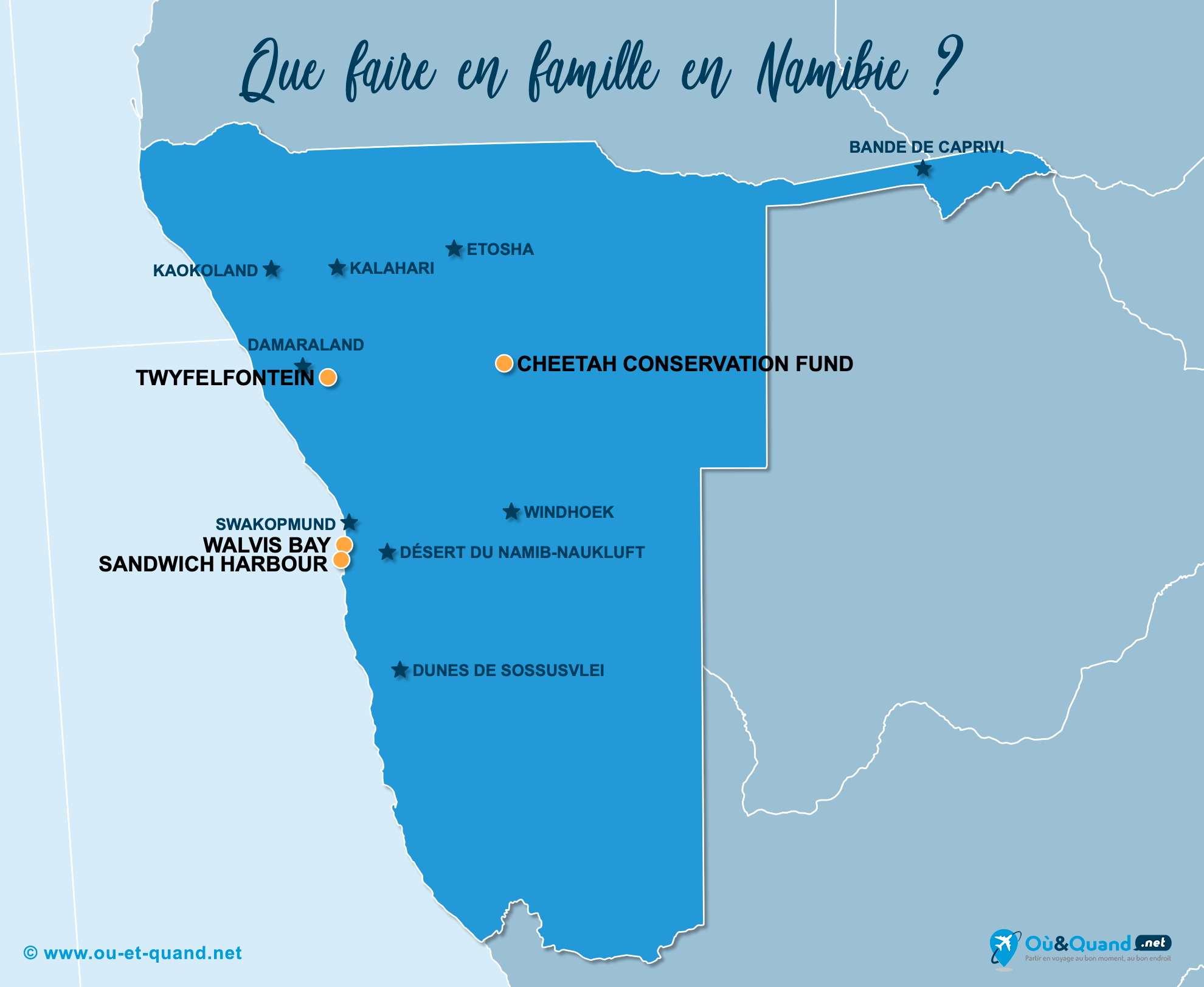 Carte Namibie : La Namibie en famille