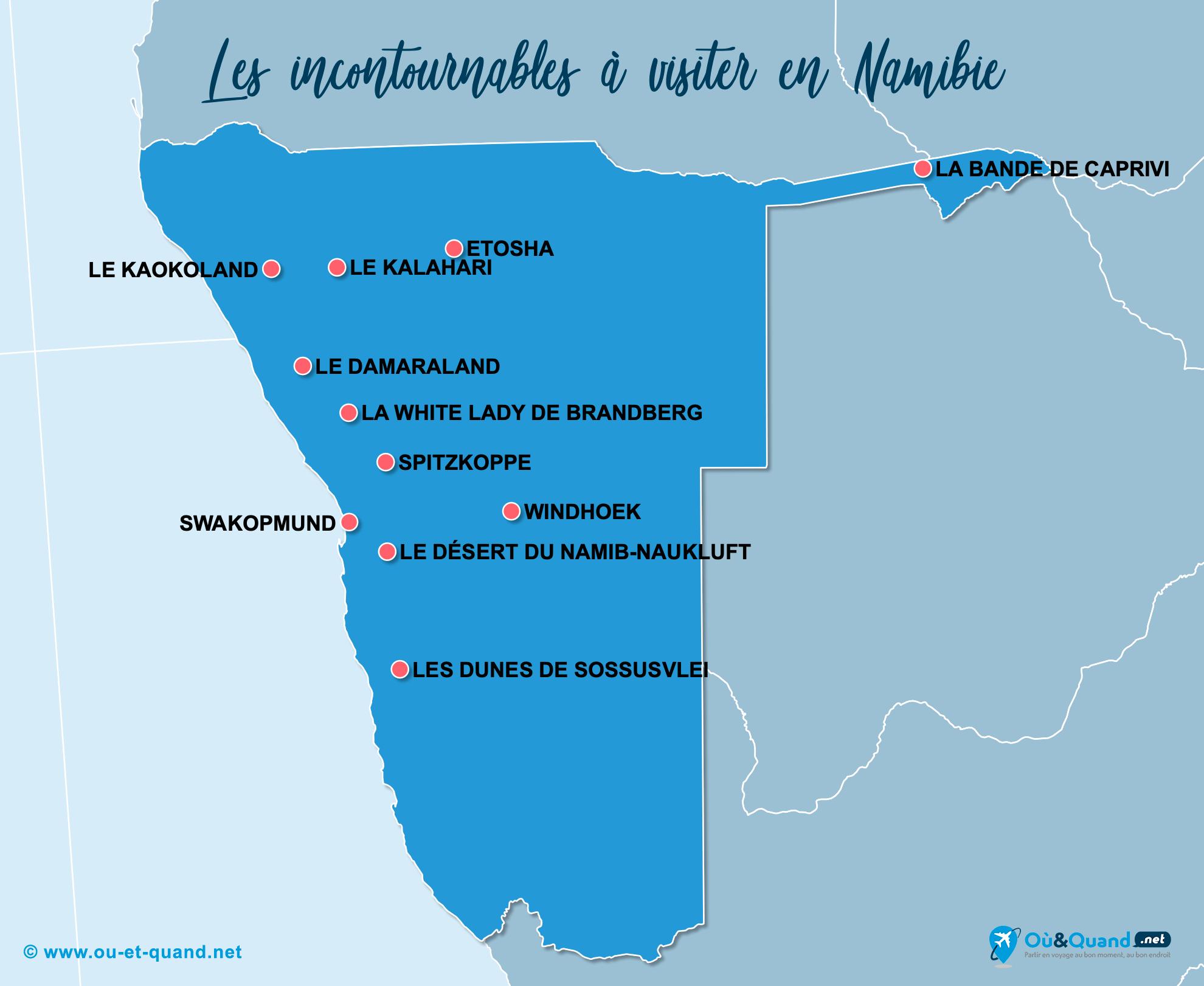 Carte Incontournables Namibie