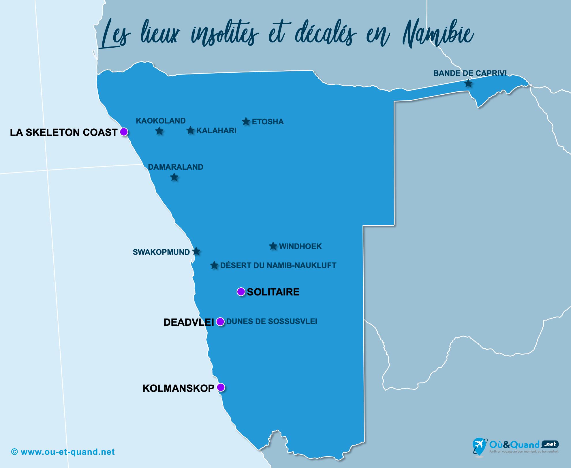 Carte Namibie : La Namibie insolite
