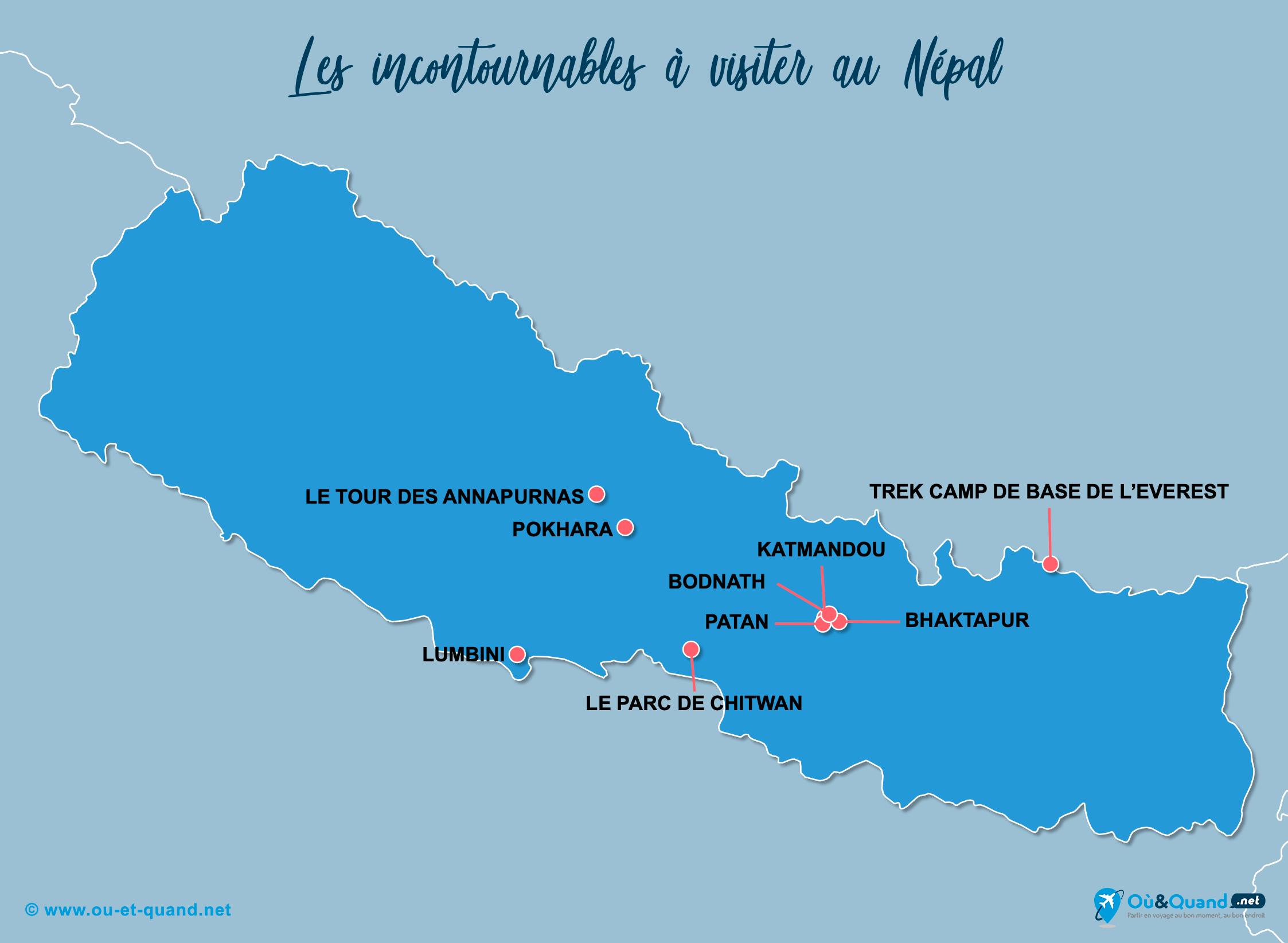 Carte Incontournables Népal