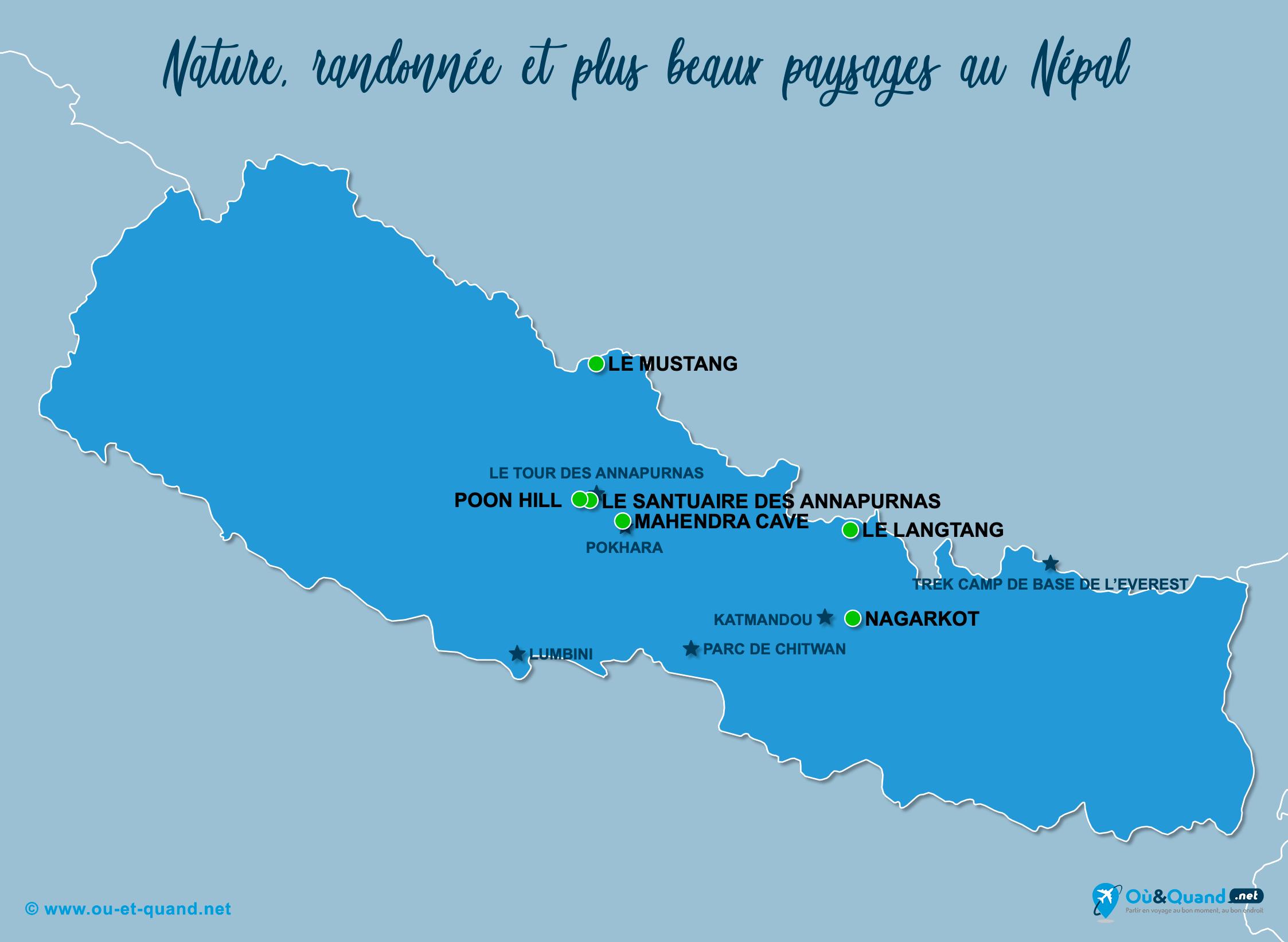 Carte Népal : Les plus beaux paysages du Népal