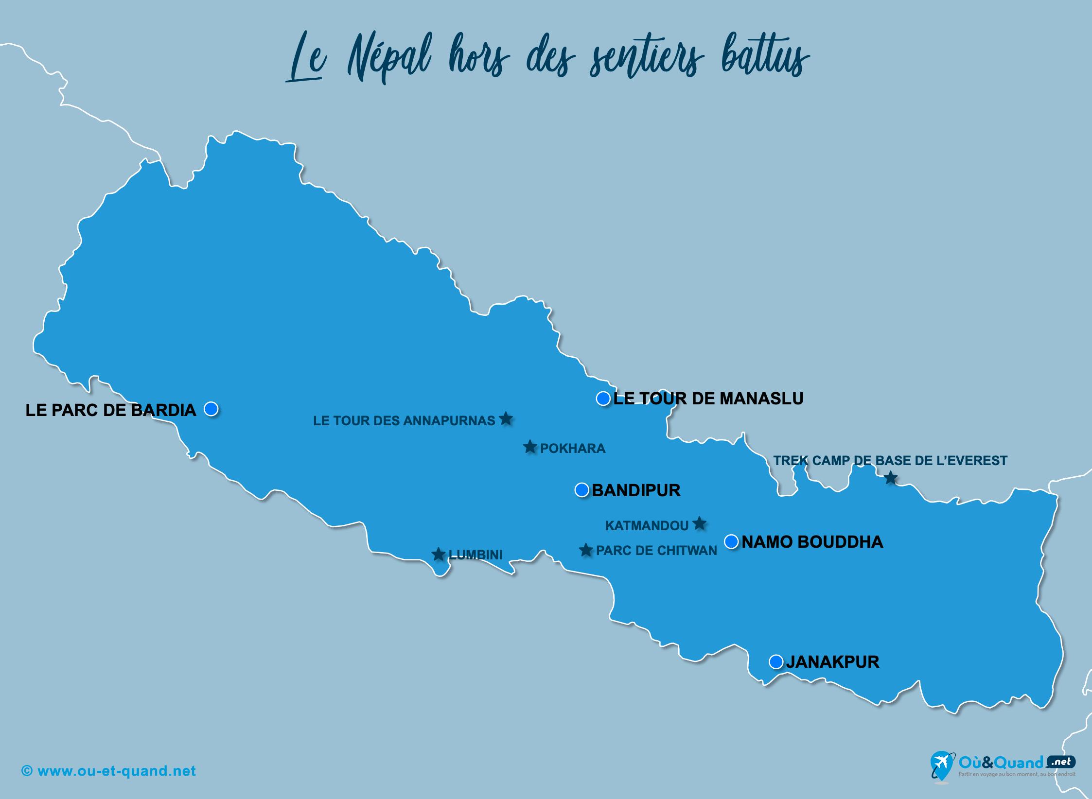 Carte Népal : Le Népal hors des sentiers battus